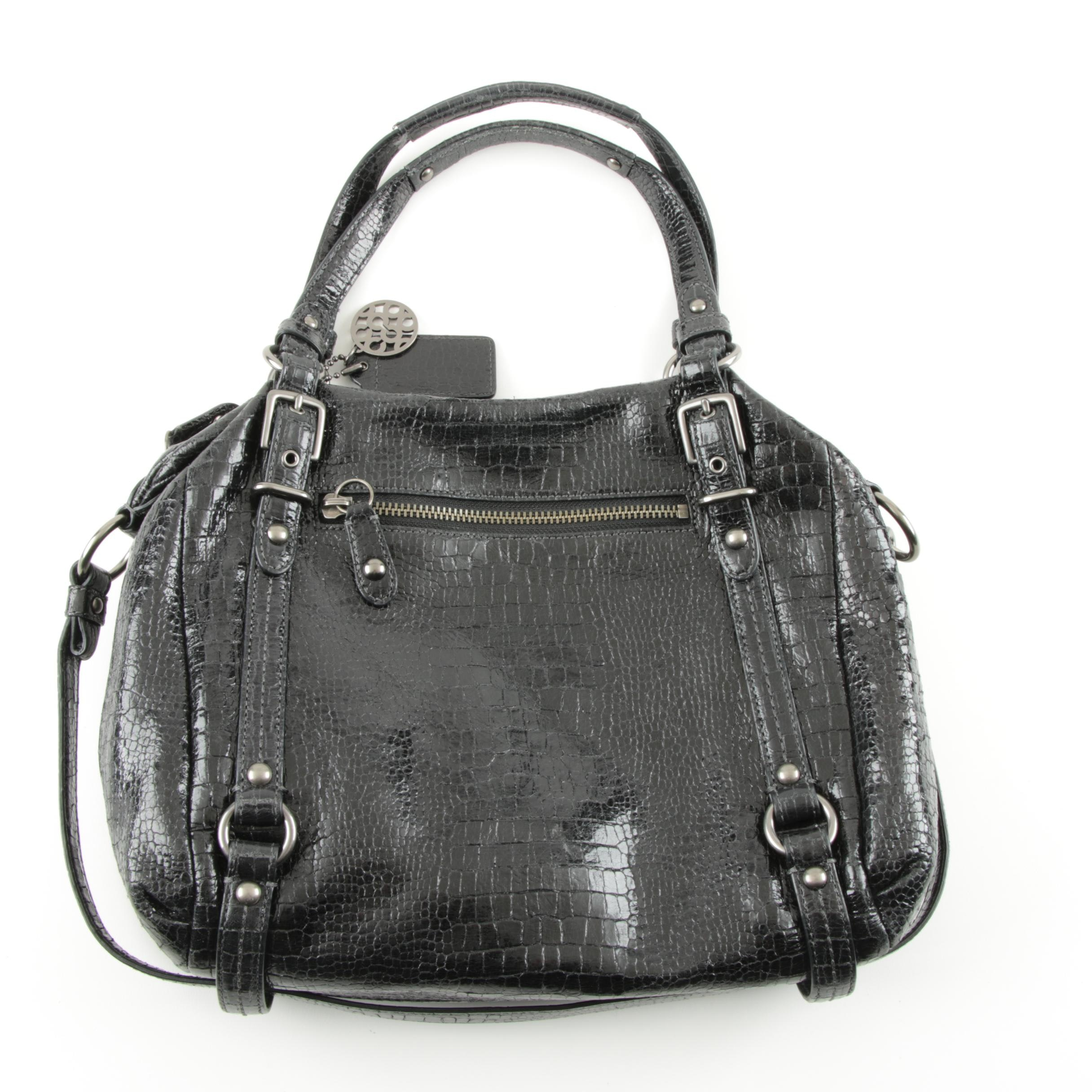 Coach Alexandra  Crocodile Embossed Leather Satchel