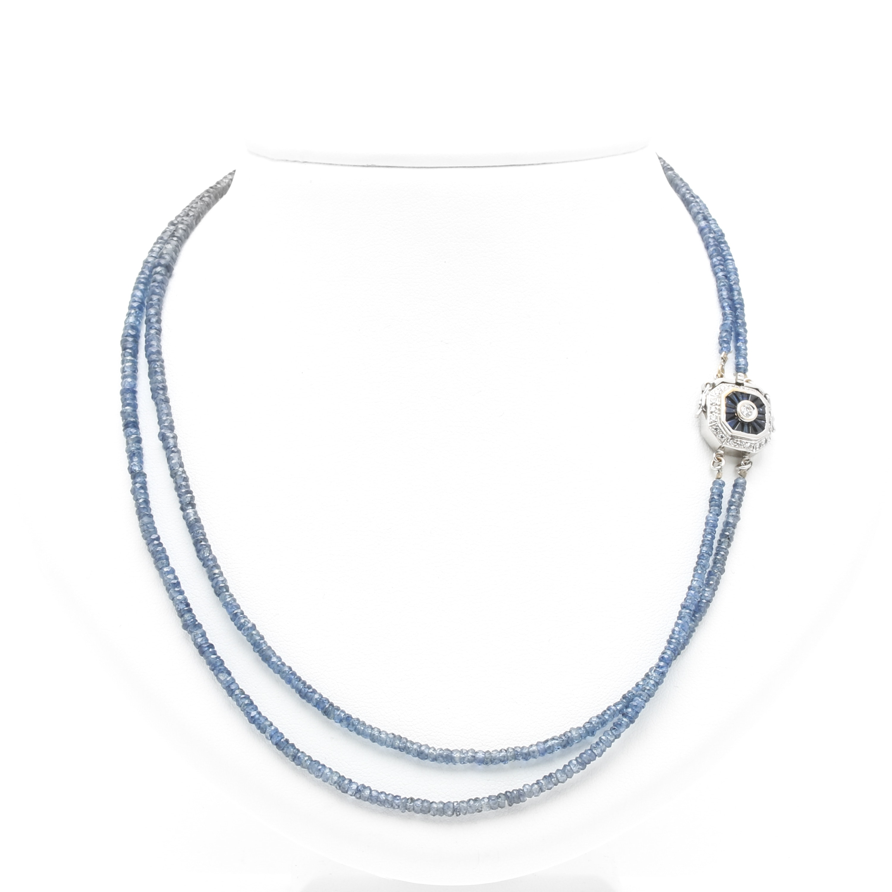 14K White Gold Diamond and Sapphire Dual Strand Necklace