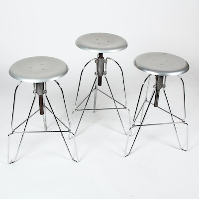 Three Jeff Covey Model 6 Spun Aluminum Three-Legged Bar Stools