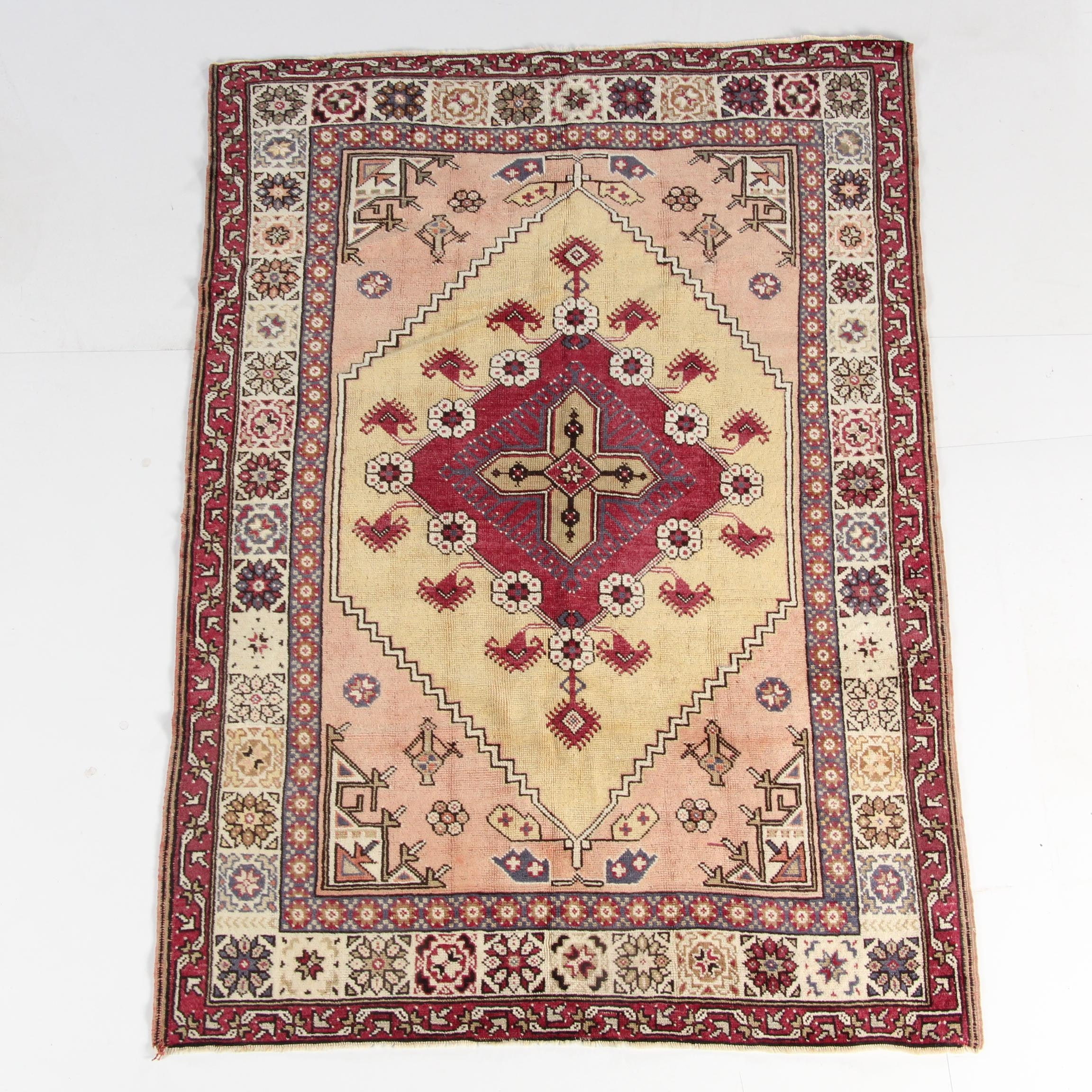 Hand-Knotted Turkish Konya Wool Area Rug