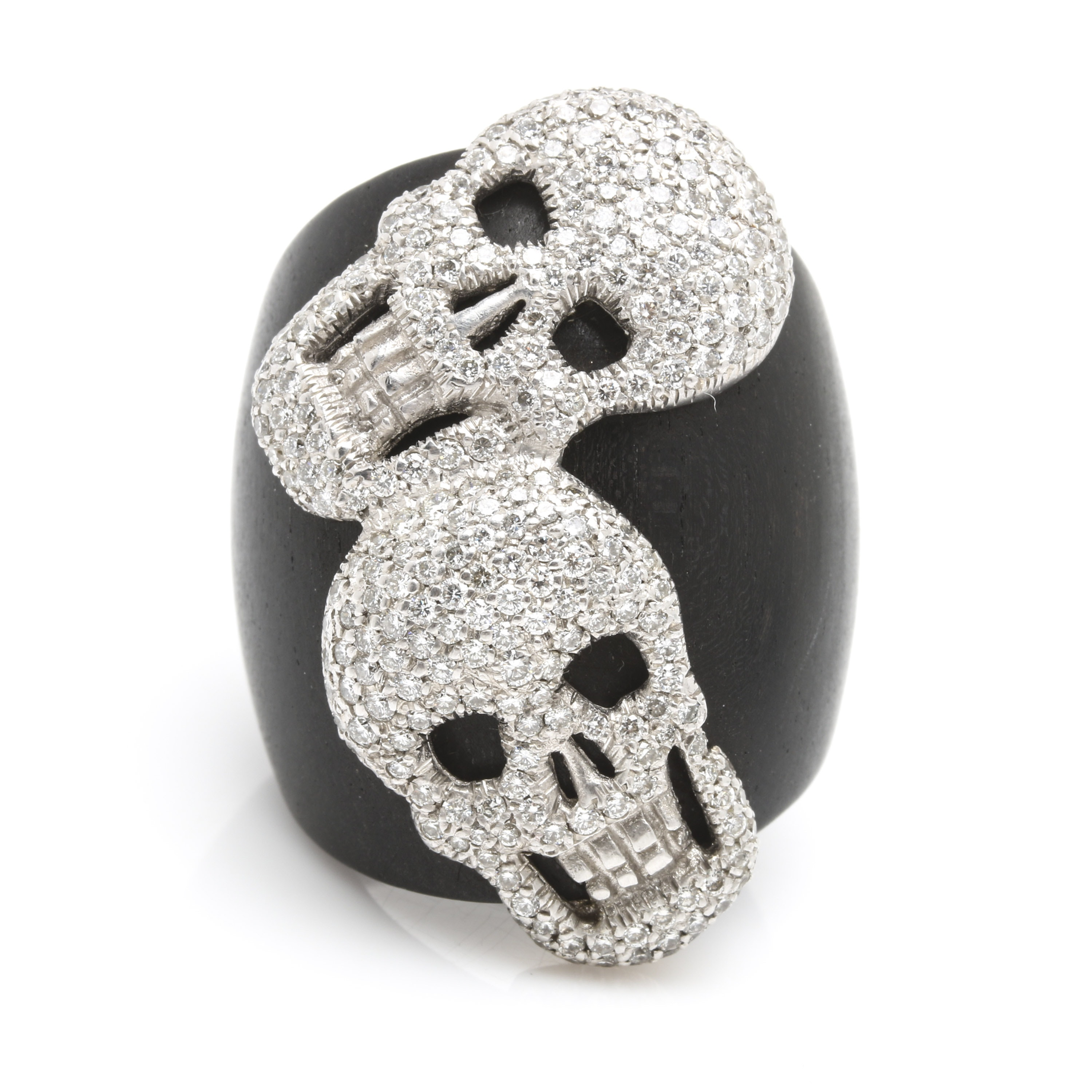 18K White Gold and Wood 2.70 CTW Diamond Skull Ring