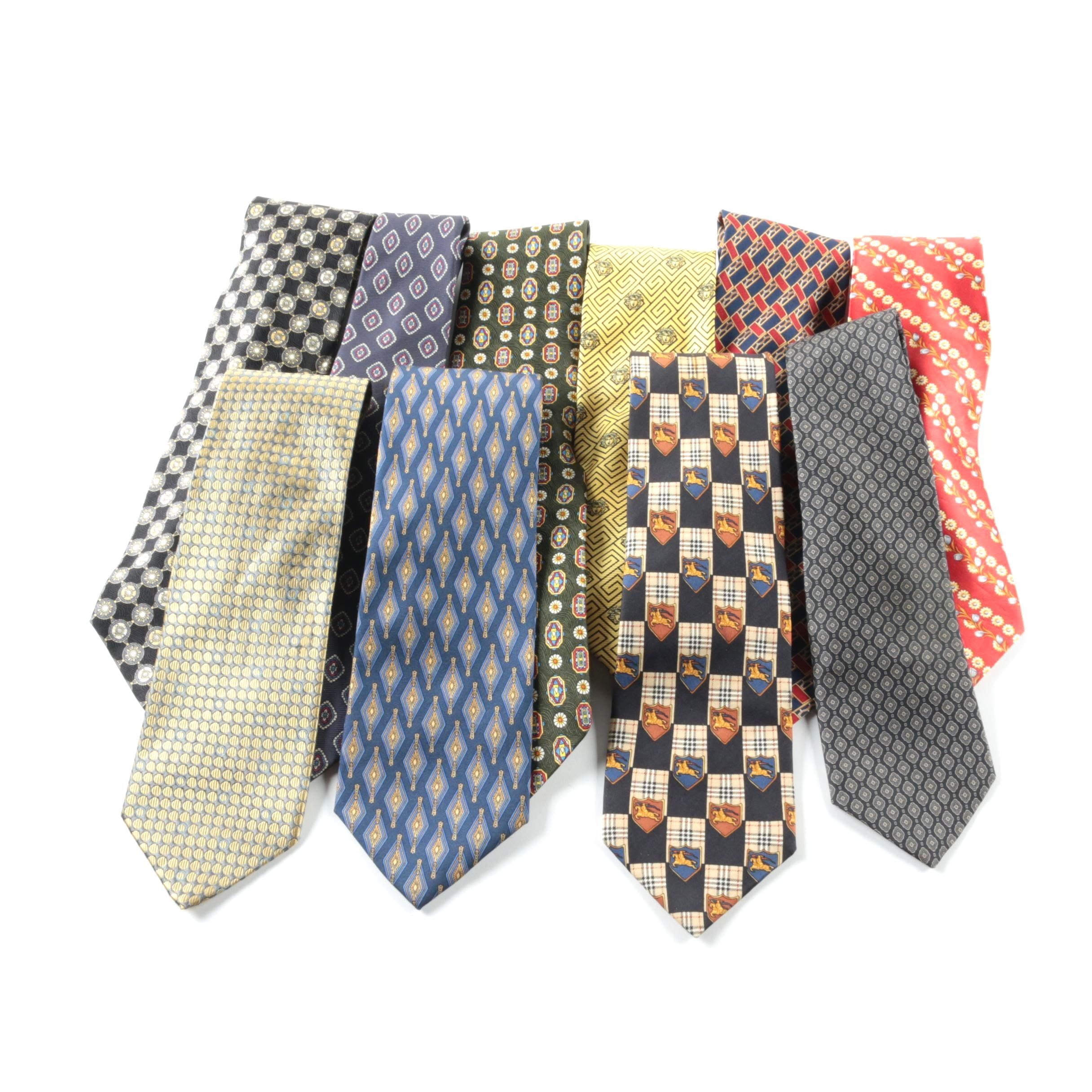 Men's Designer Silk Neckties Including Burberry and Oscar de la Renta