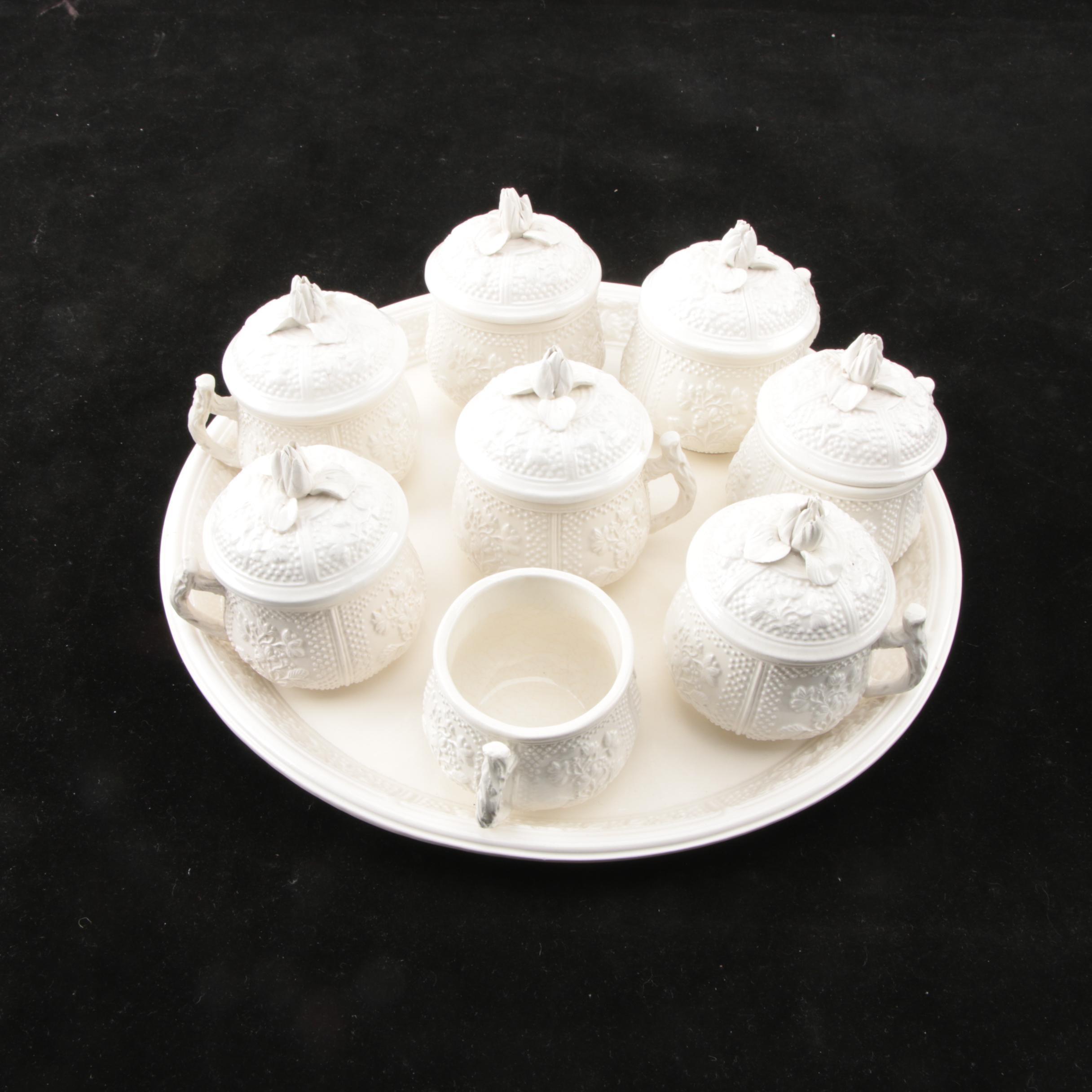 Vintage Italian Porcelain Pots De Crème Set