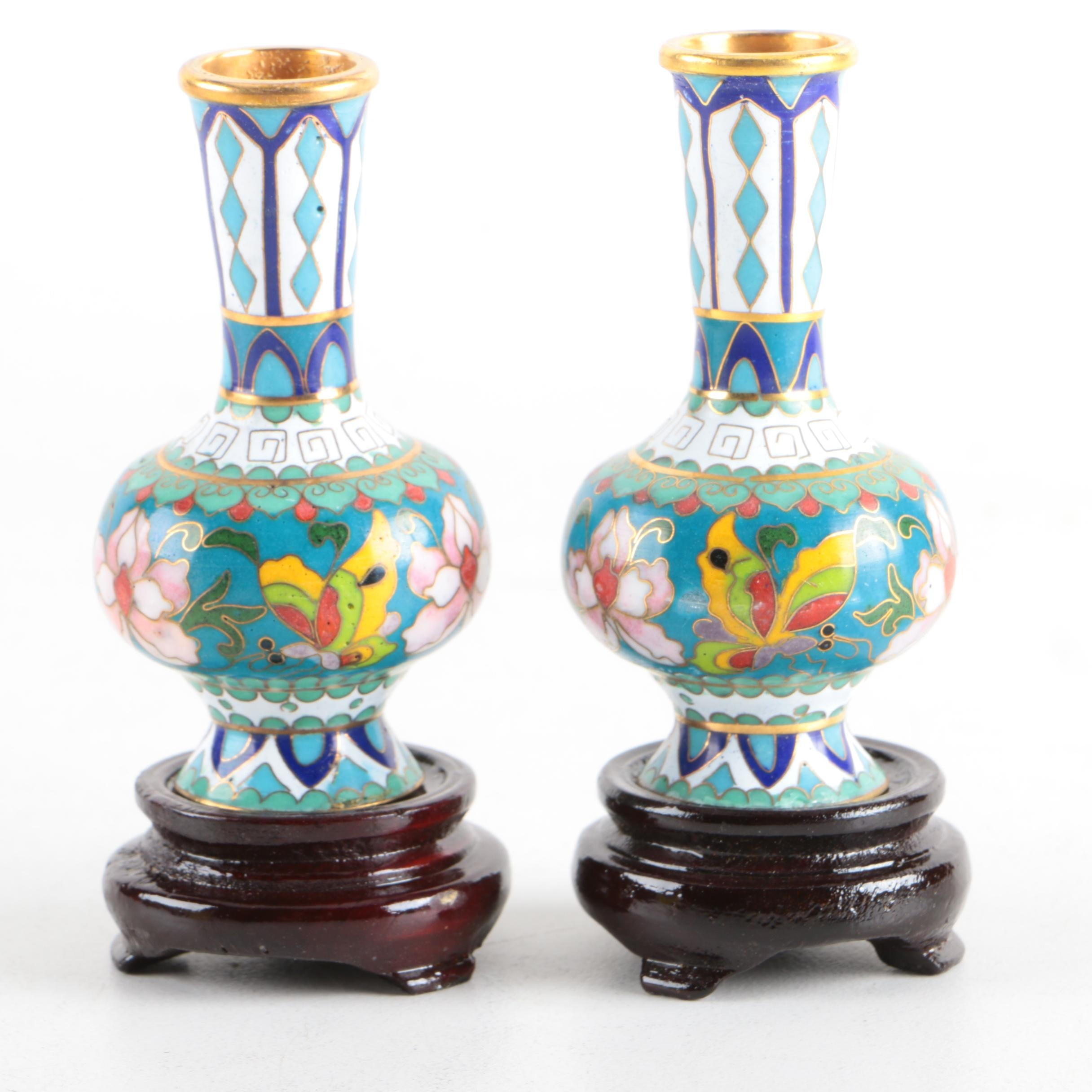 Pair of Chinese Cloisonné Vases with Wooden Stands
