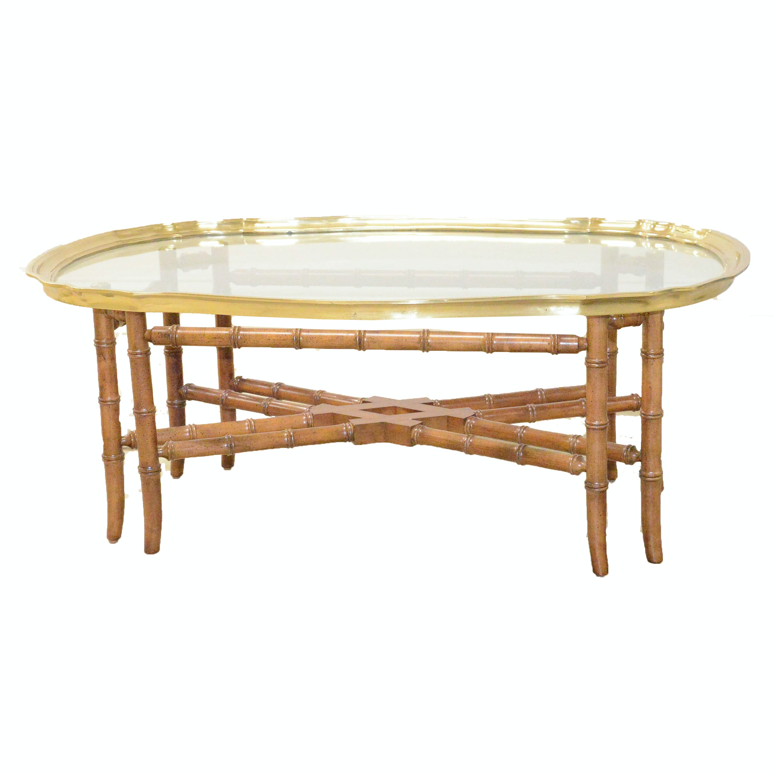 Hollywood Regency Style Glass Tray Top Faux Bamboo Coffee Table ...