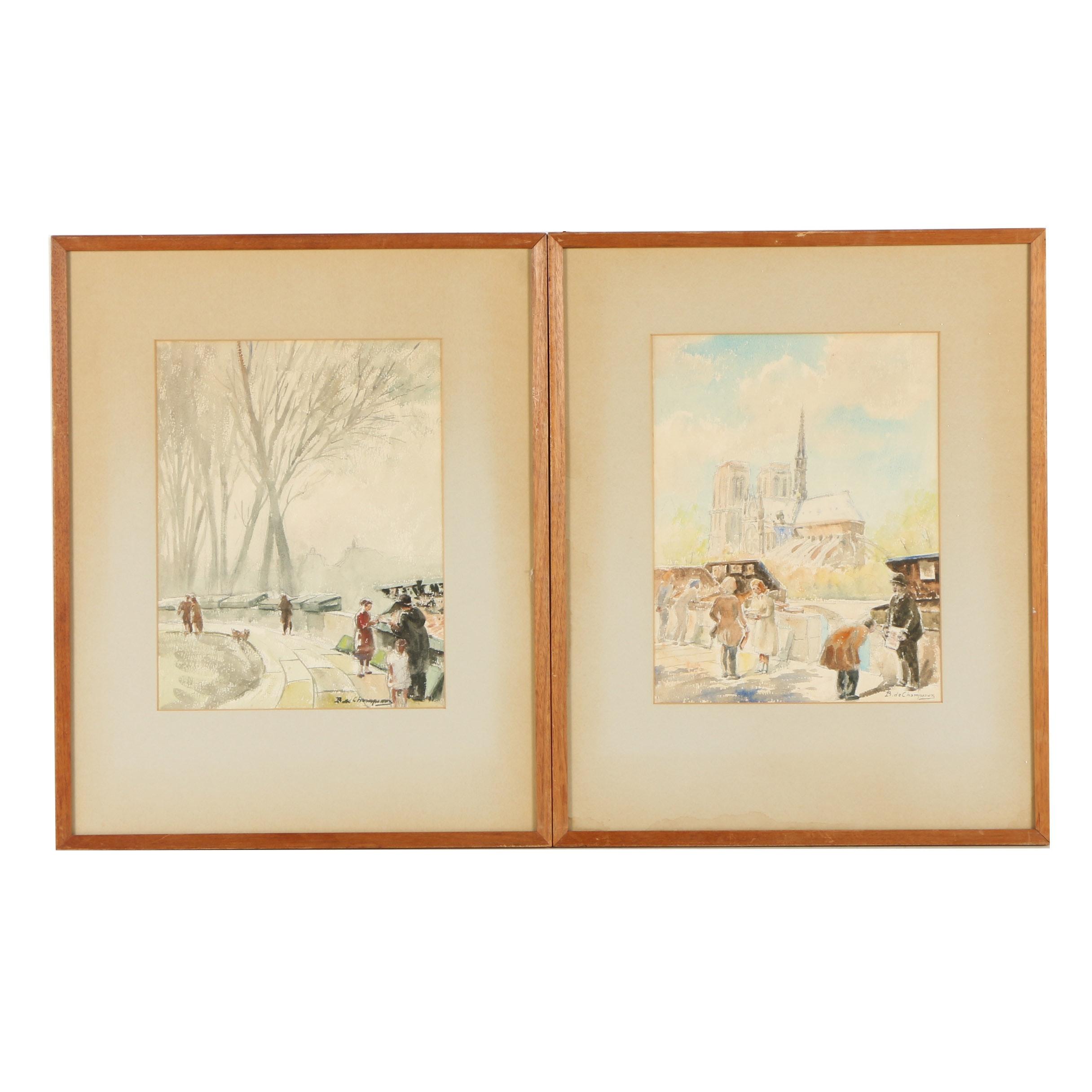 B. de Champenoux Watercolor Paintings of Paris