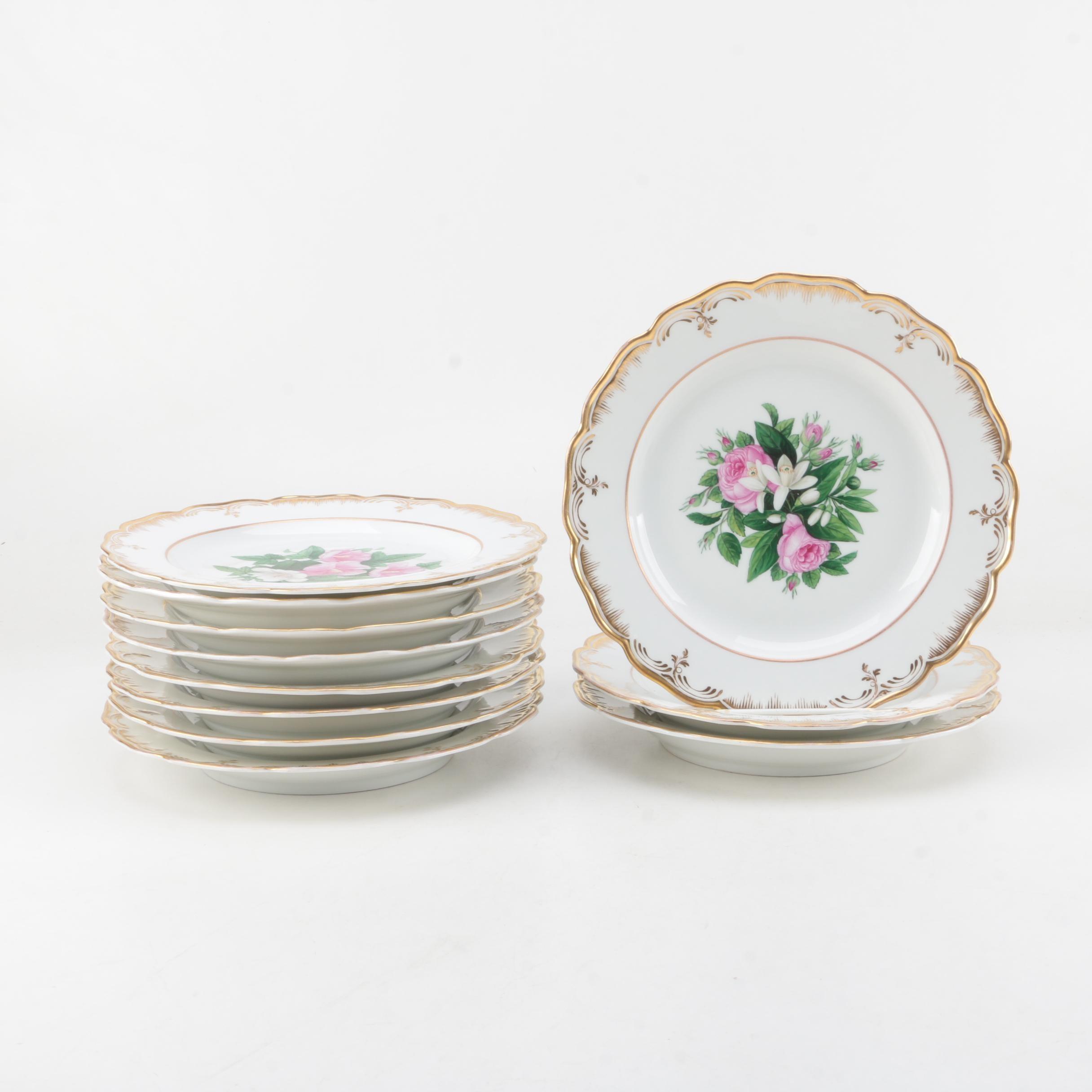 Antique Königliche Porzellan Manufaktur KPM Berlin Floral Dinner Plates 1844-47