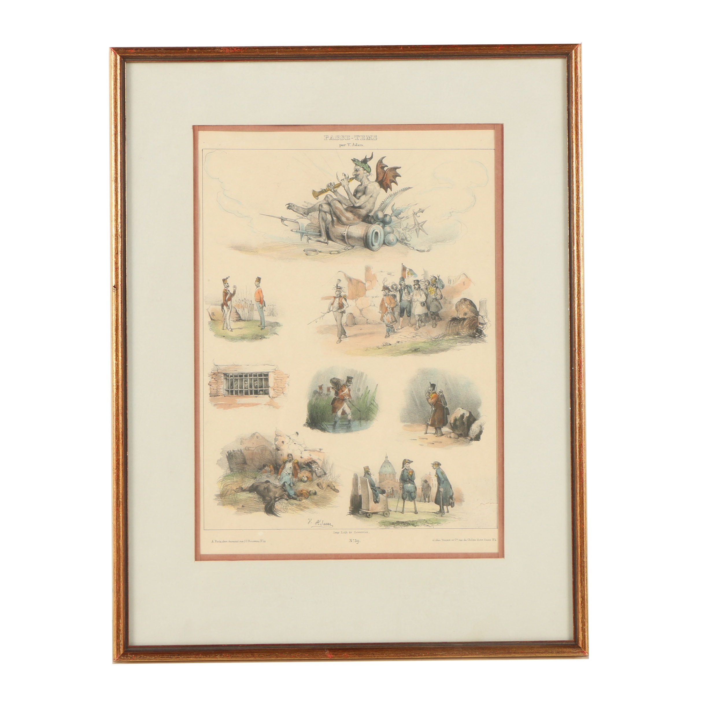 Hand-Painted Lithograph