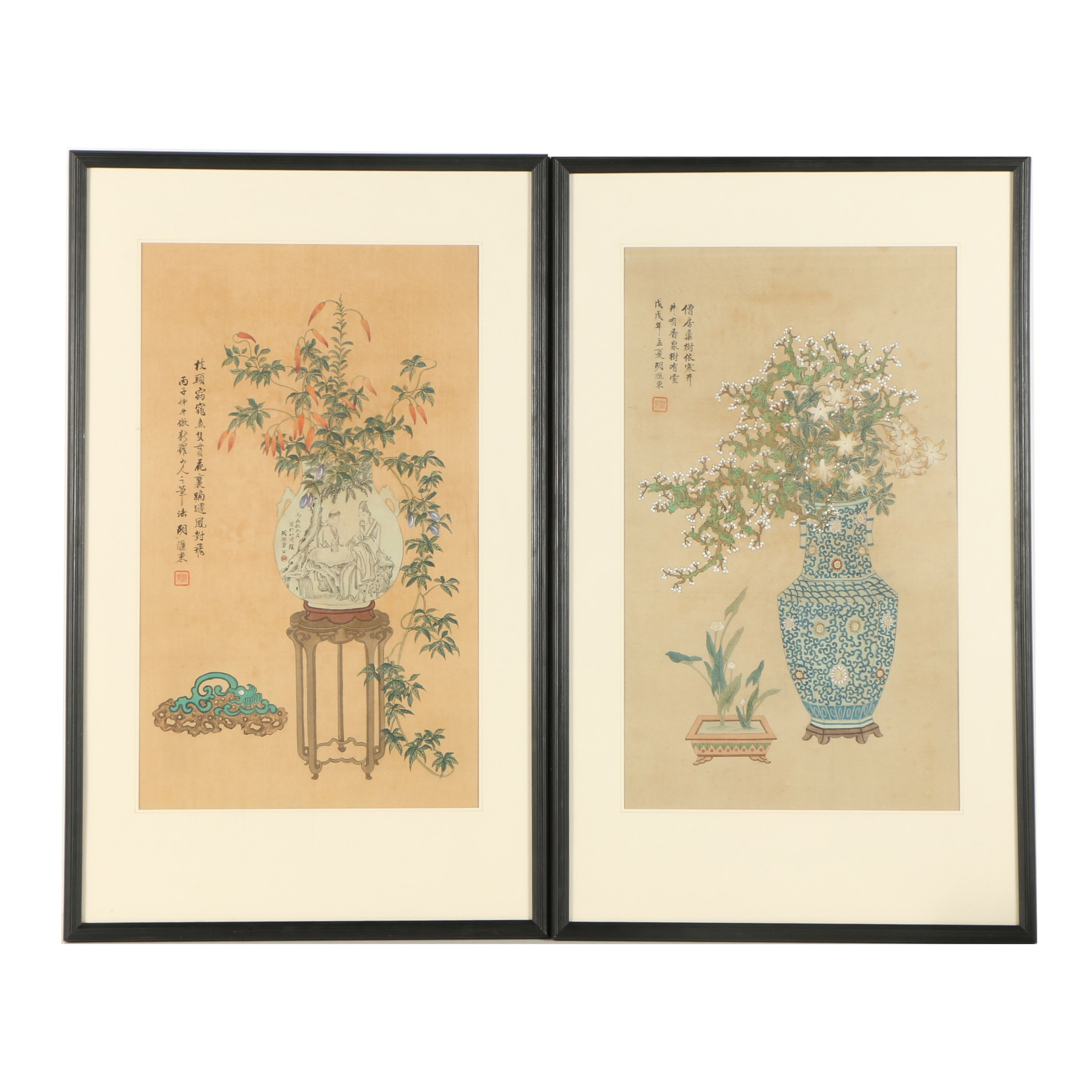 Chinese Gouache Paintings on Silk Still Lifes