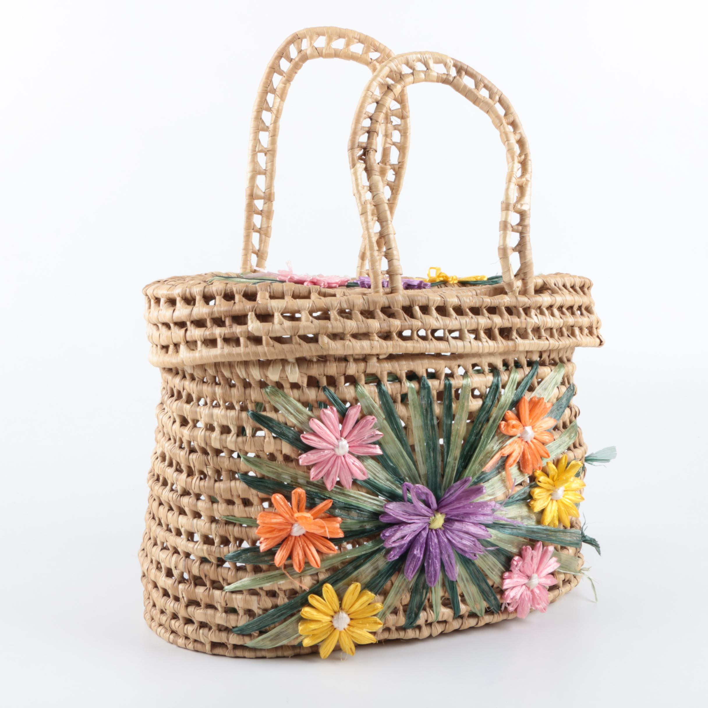 Vintage Woven Basket Handbag with Colorful Floral Accents