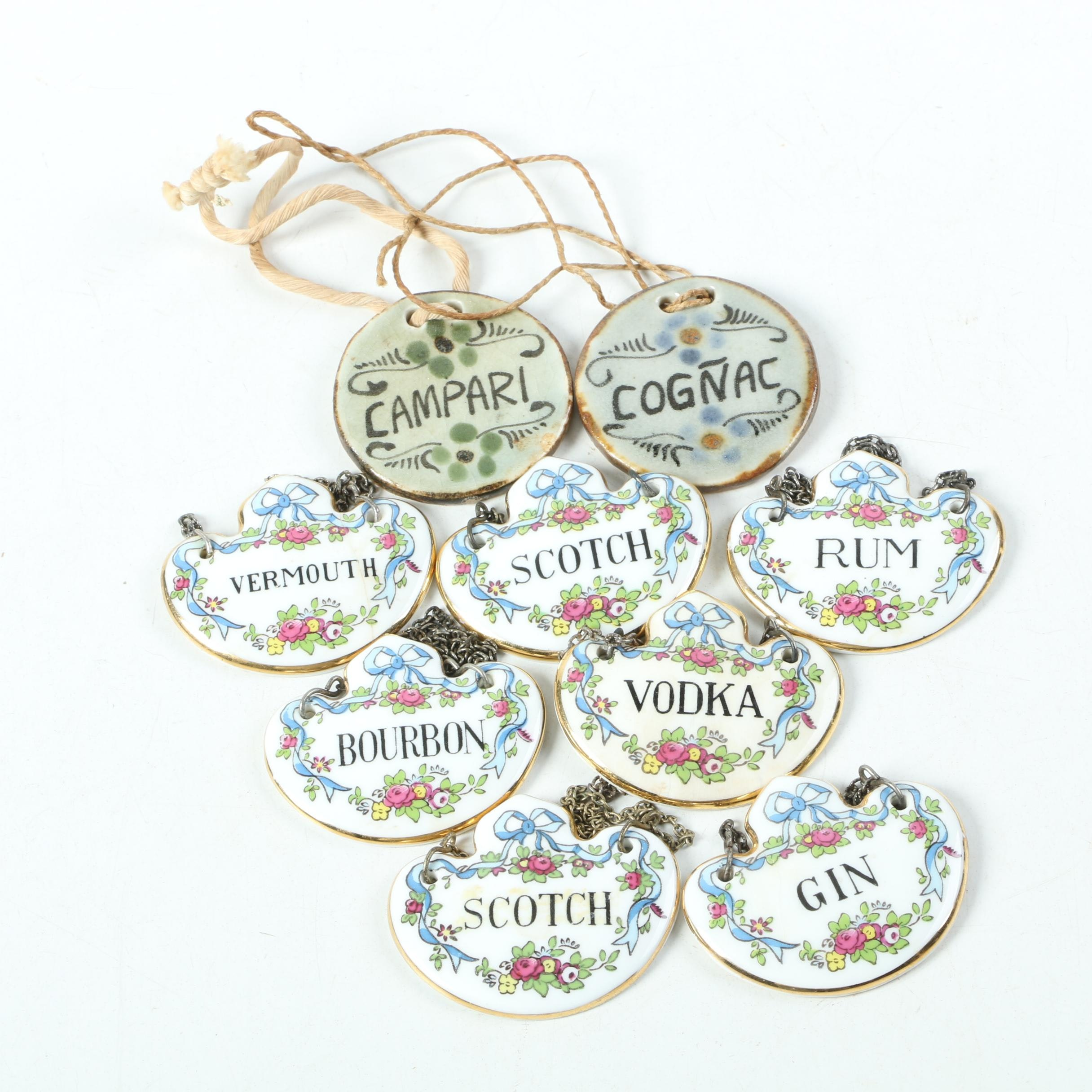 Crown Staffordshire Porcelain Liquor Bottle Labels