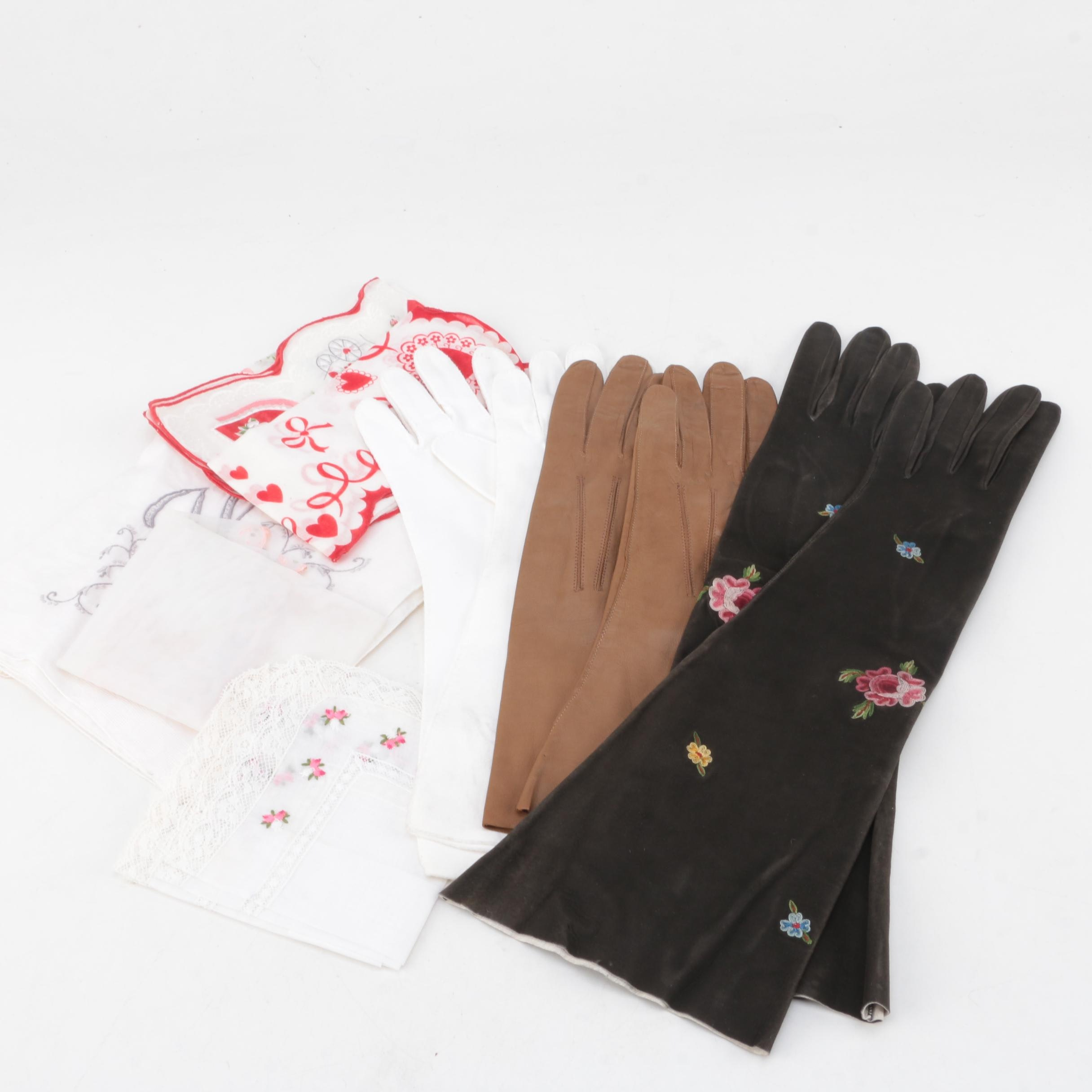 Women's Vintage Gloves and Handkerchiefs