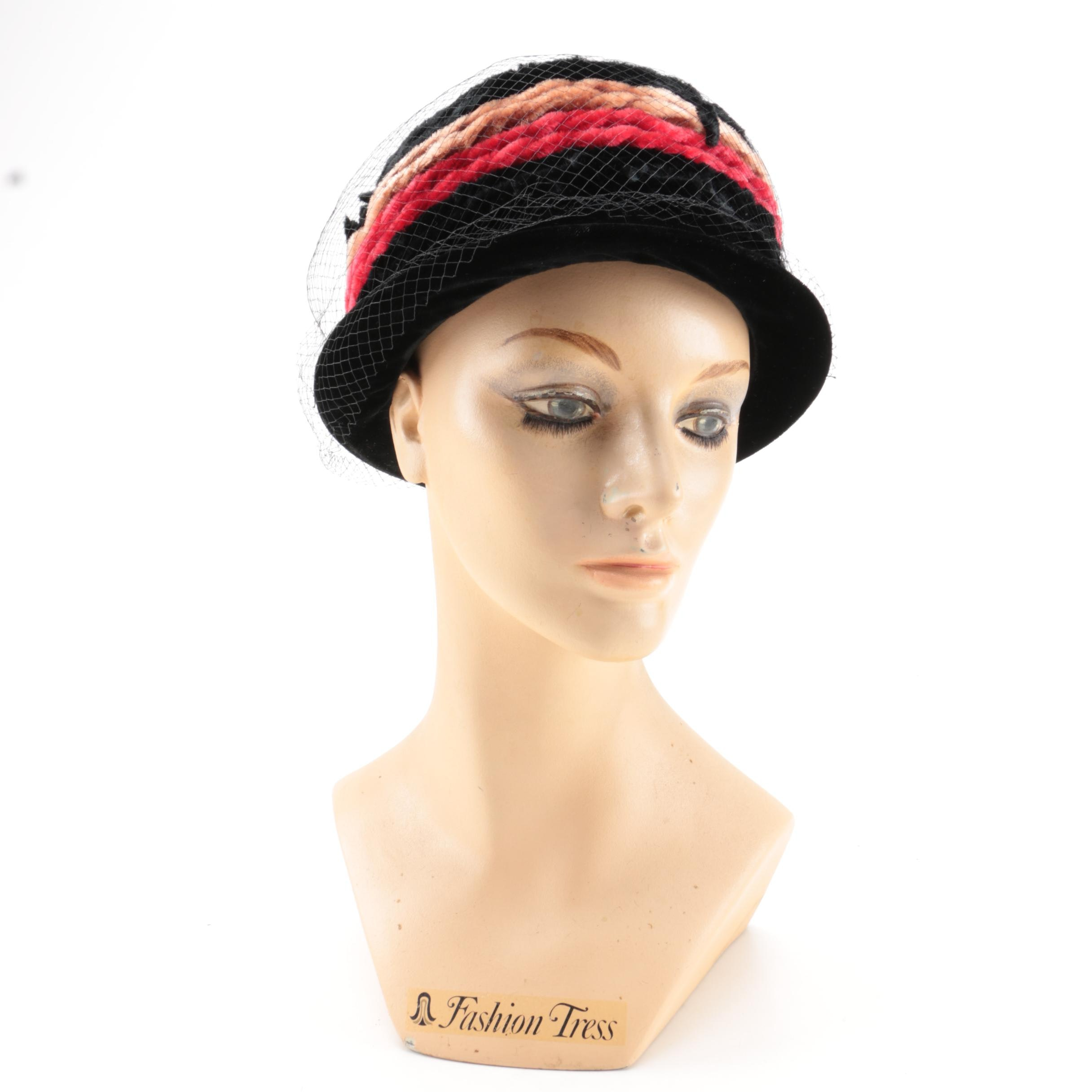 Vintage Hand-Painted Female Mannequin Head and Velvet Hat