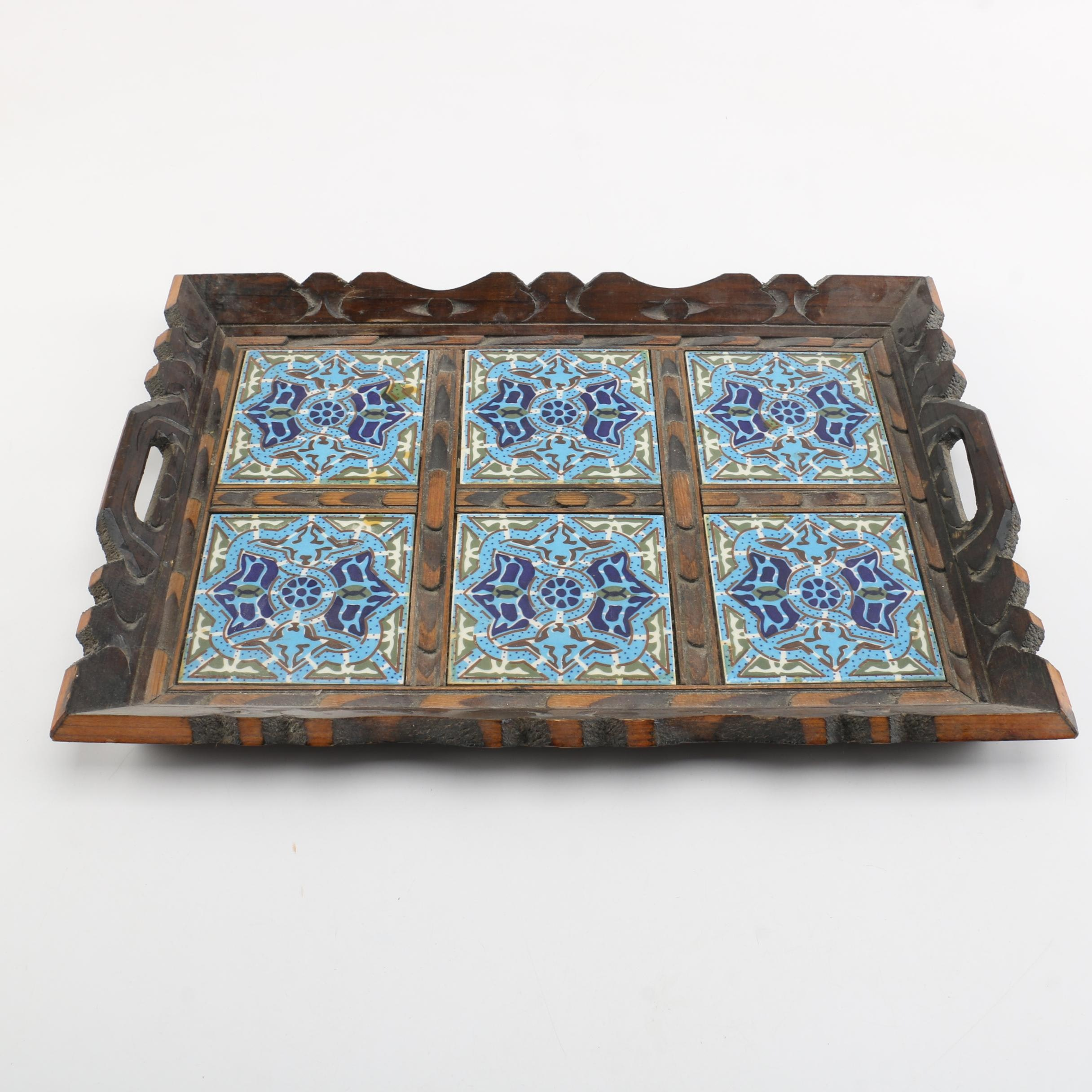 Turkish Style Wooden Tray with Decorative Ceramic Inlays