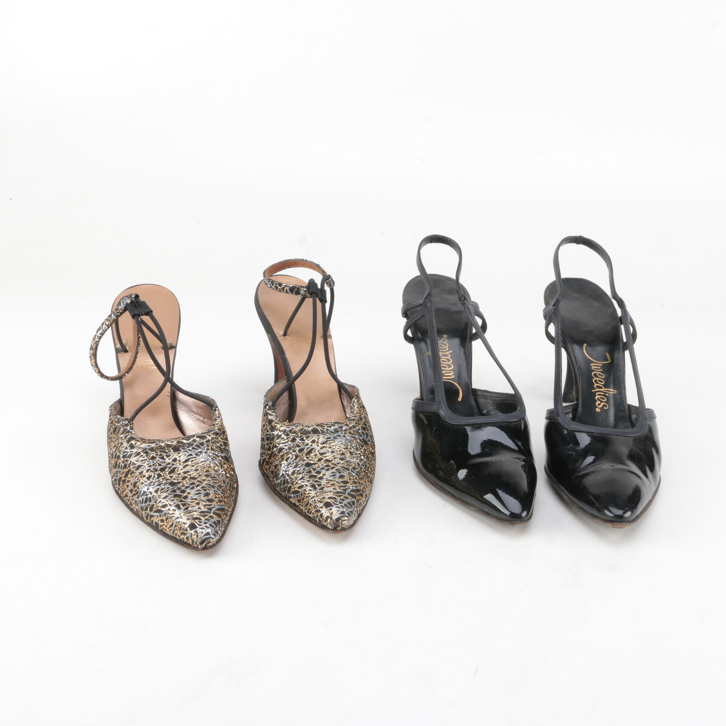 Two Pairs of Vintage High Heeled Dress Sandals
