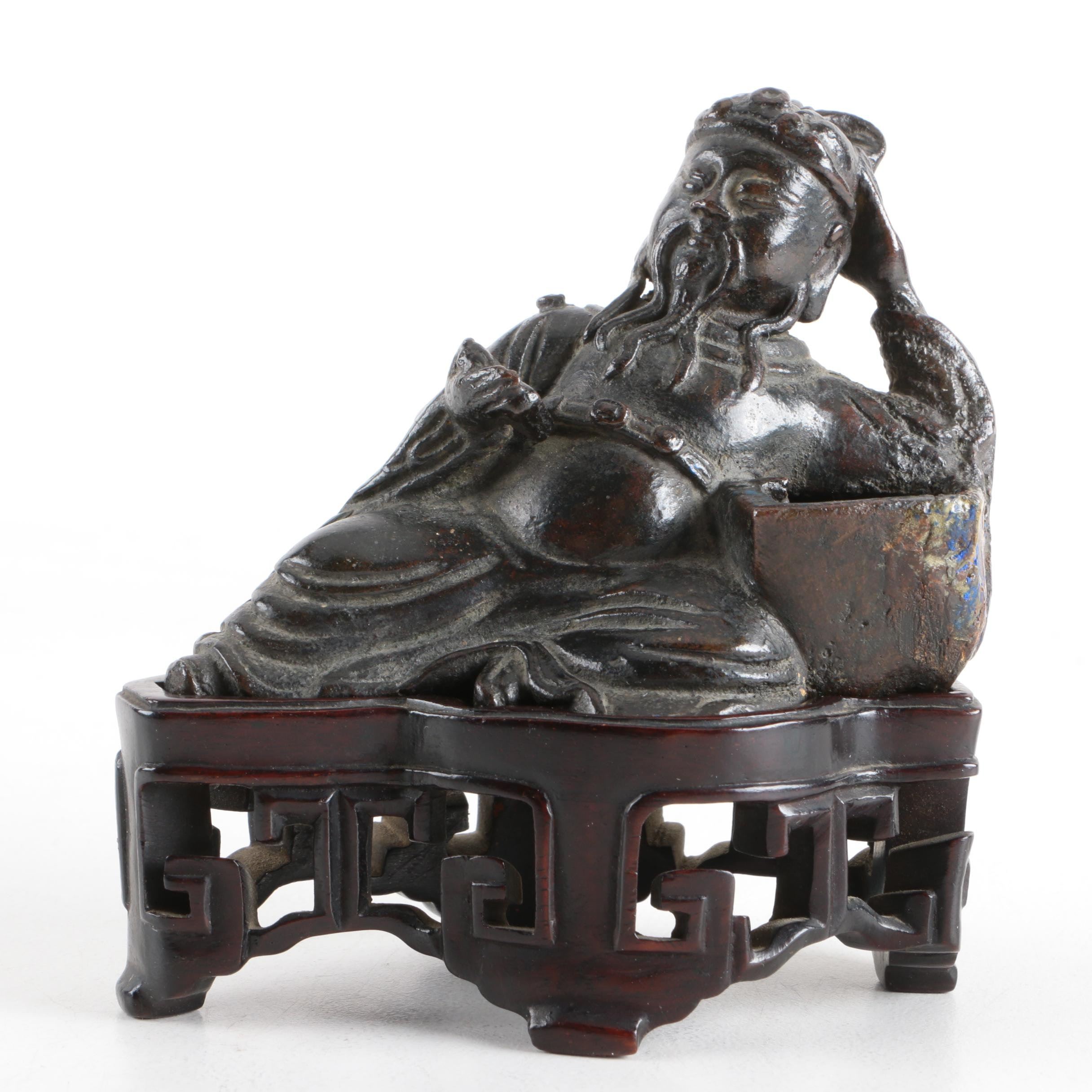 Chinese Cast Metal Reclining Figure on Wooden Base