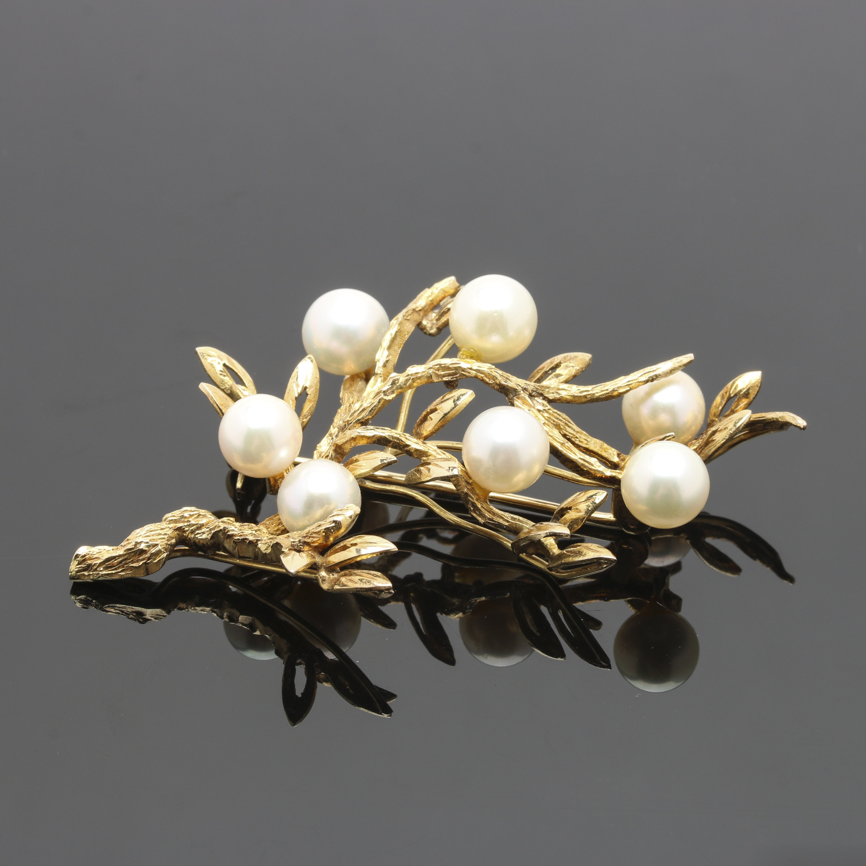 14K and 10K Yellow Gold Cultured Pearl Brooch