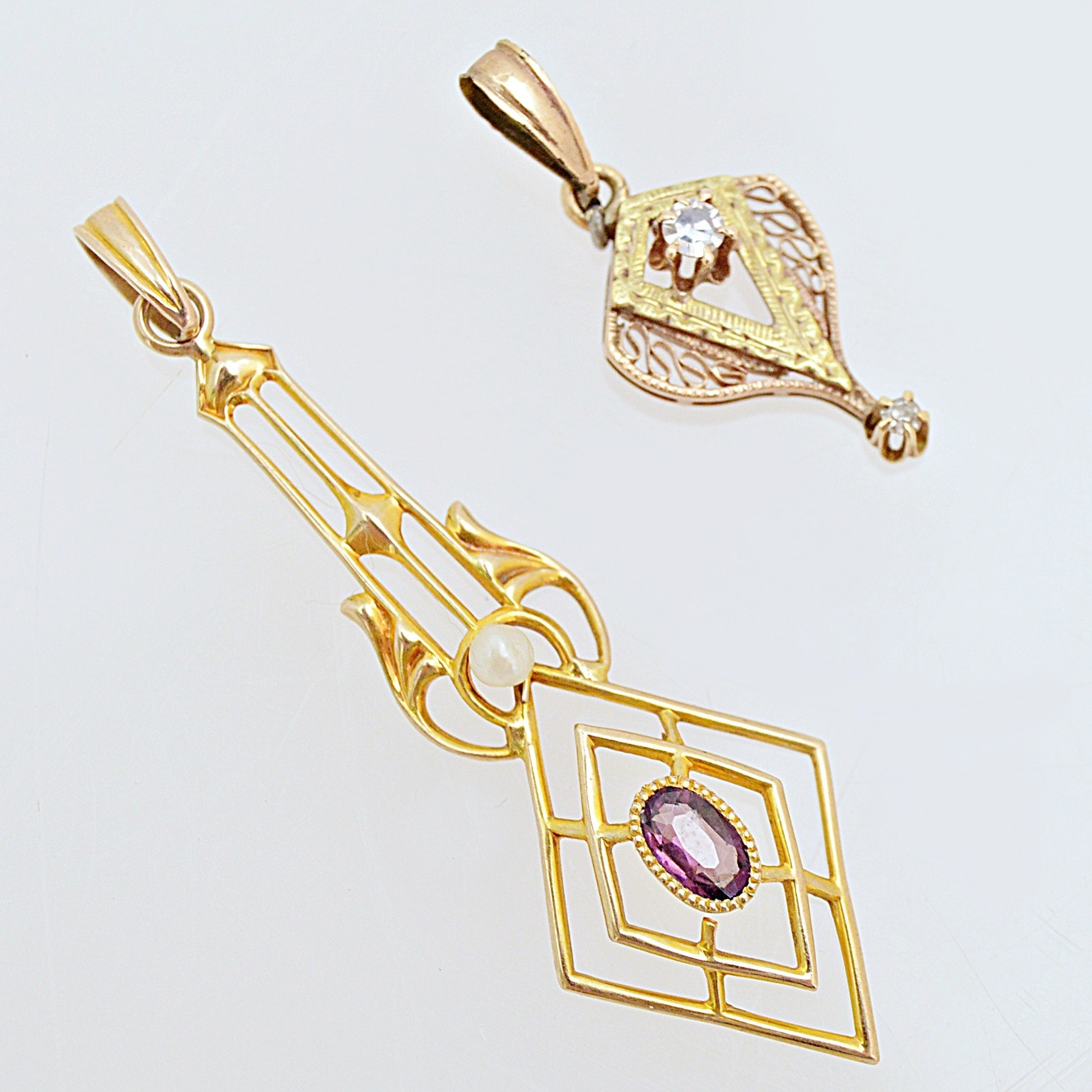 Antique 10K Yellow Gold, Garnet and Seed Pearl and 10K Gold Diamond Pendants