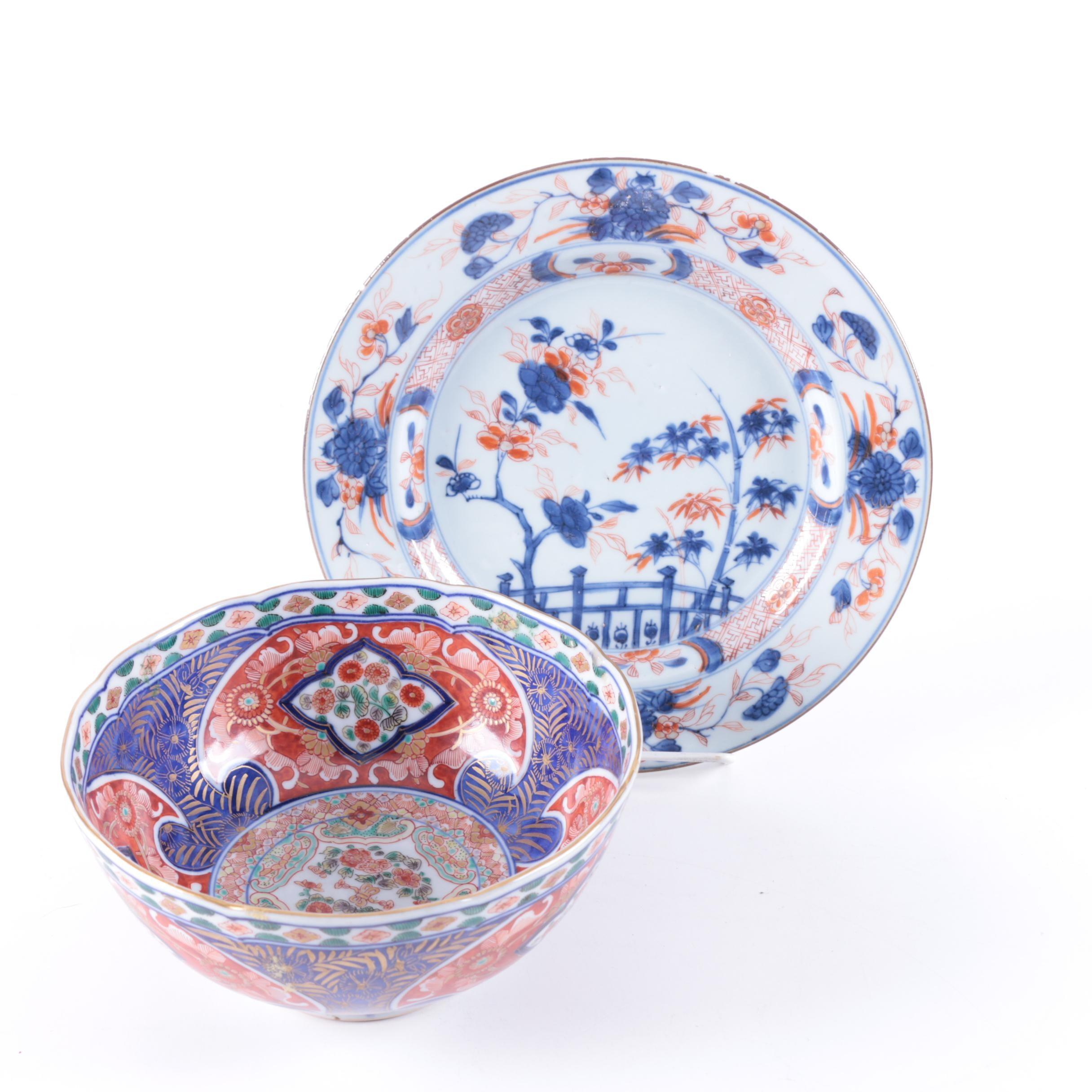 Japanese Imari Porcelain Bowl and Plate