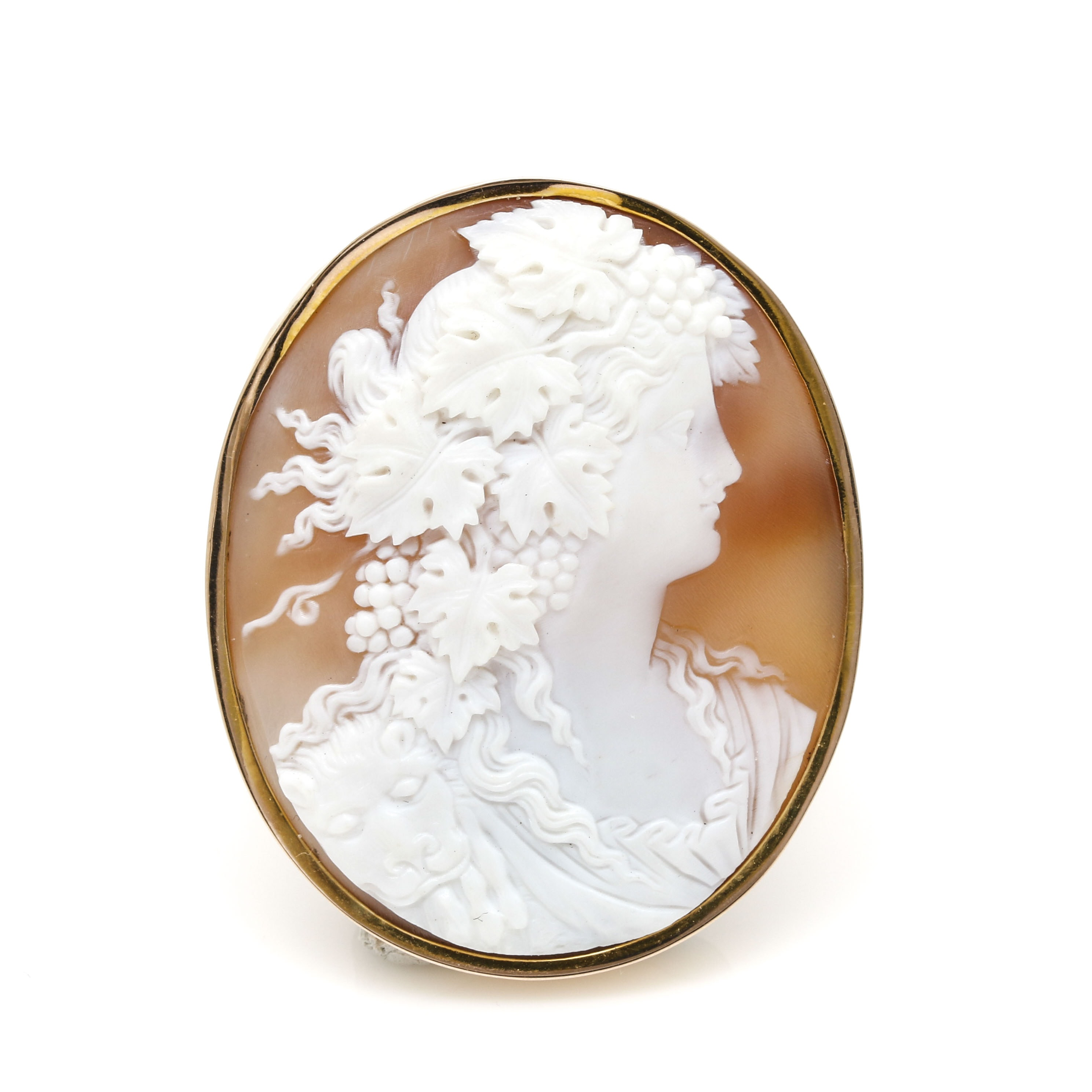 14K and 10K Yellow Gold Helmet Shell Cameo Brooch