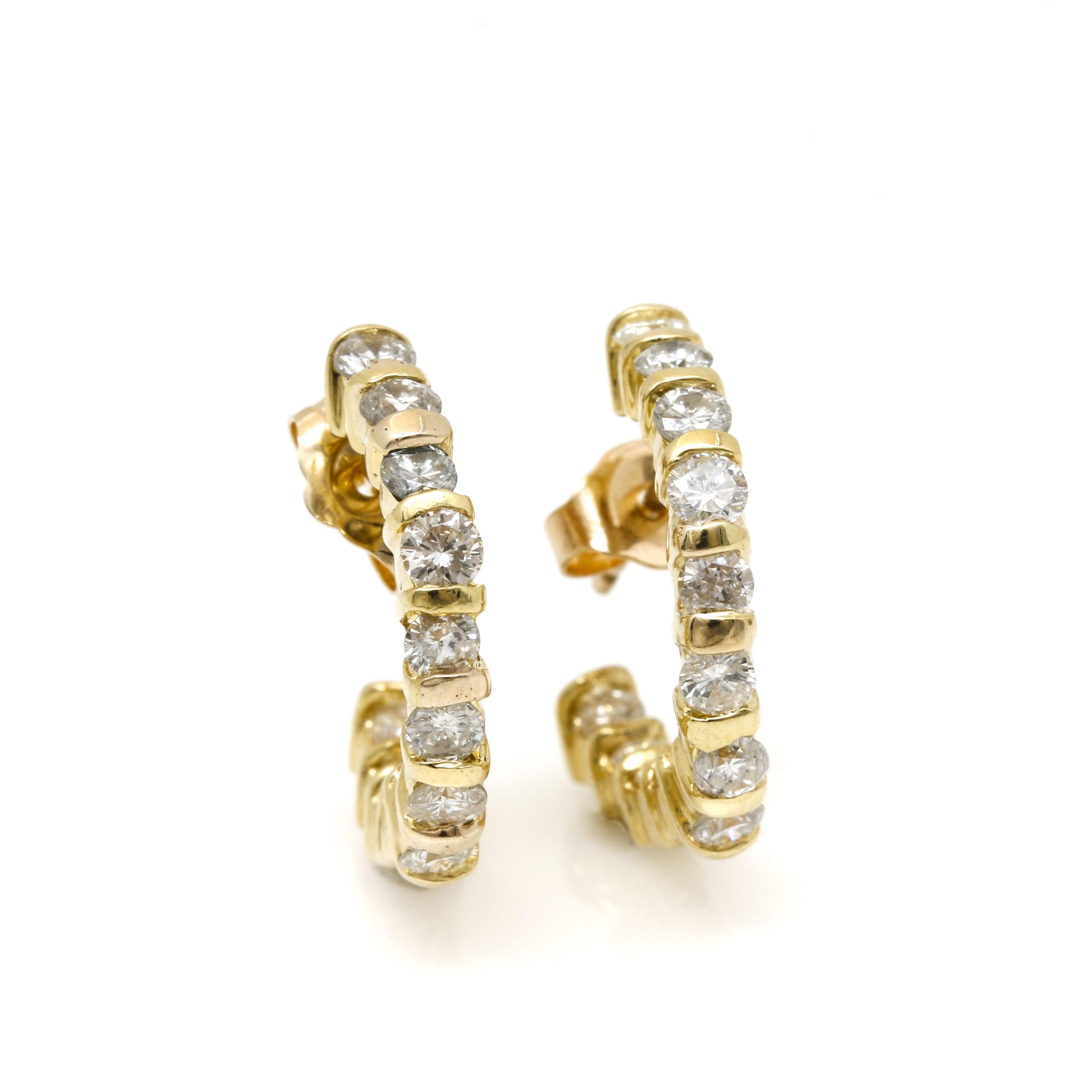 18K Yellow Gold 1.08 CTW Diamond Earrings