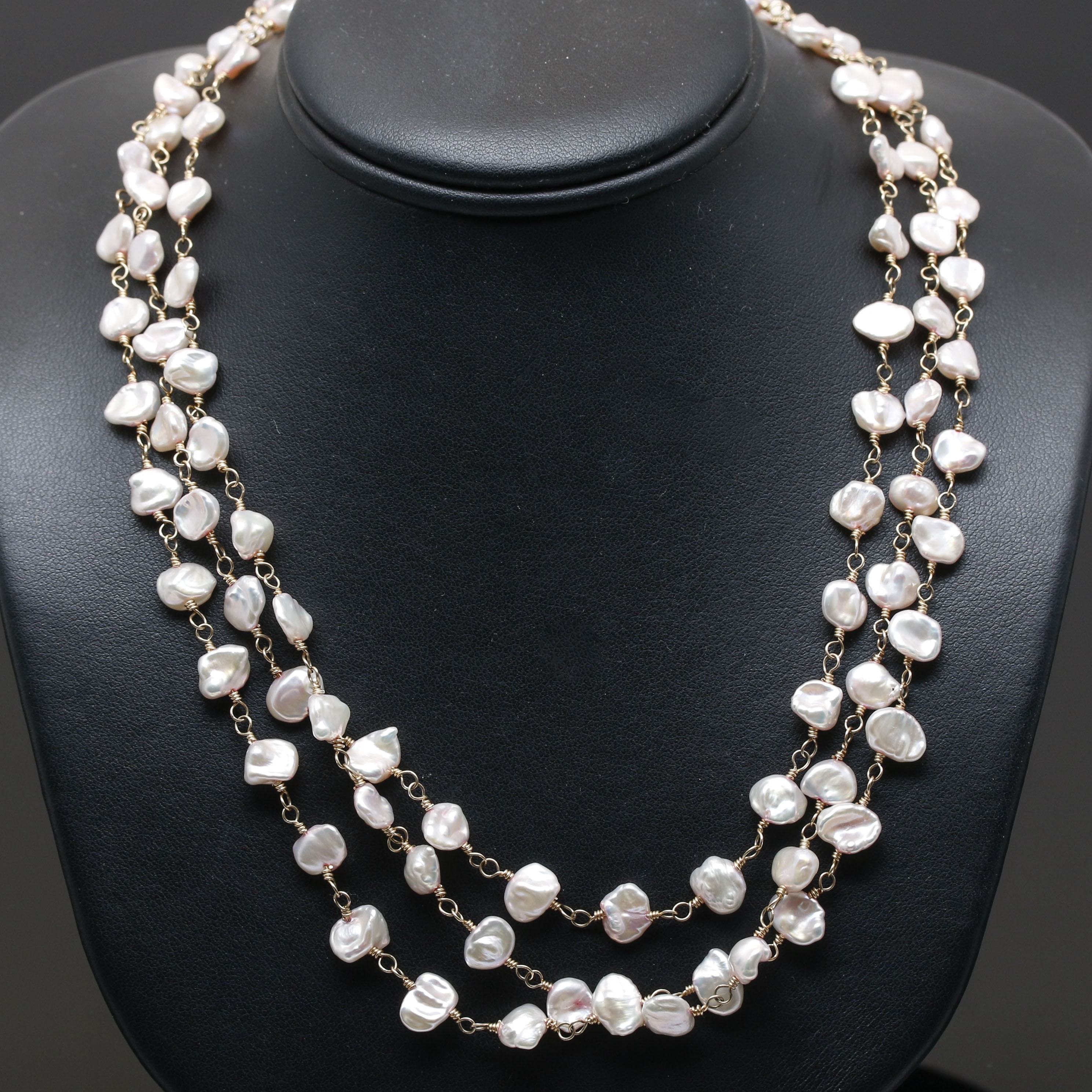 14K Yellow Gold Cultured Baroque Pearl Necklace