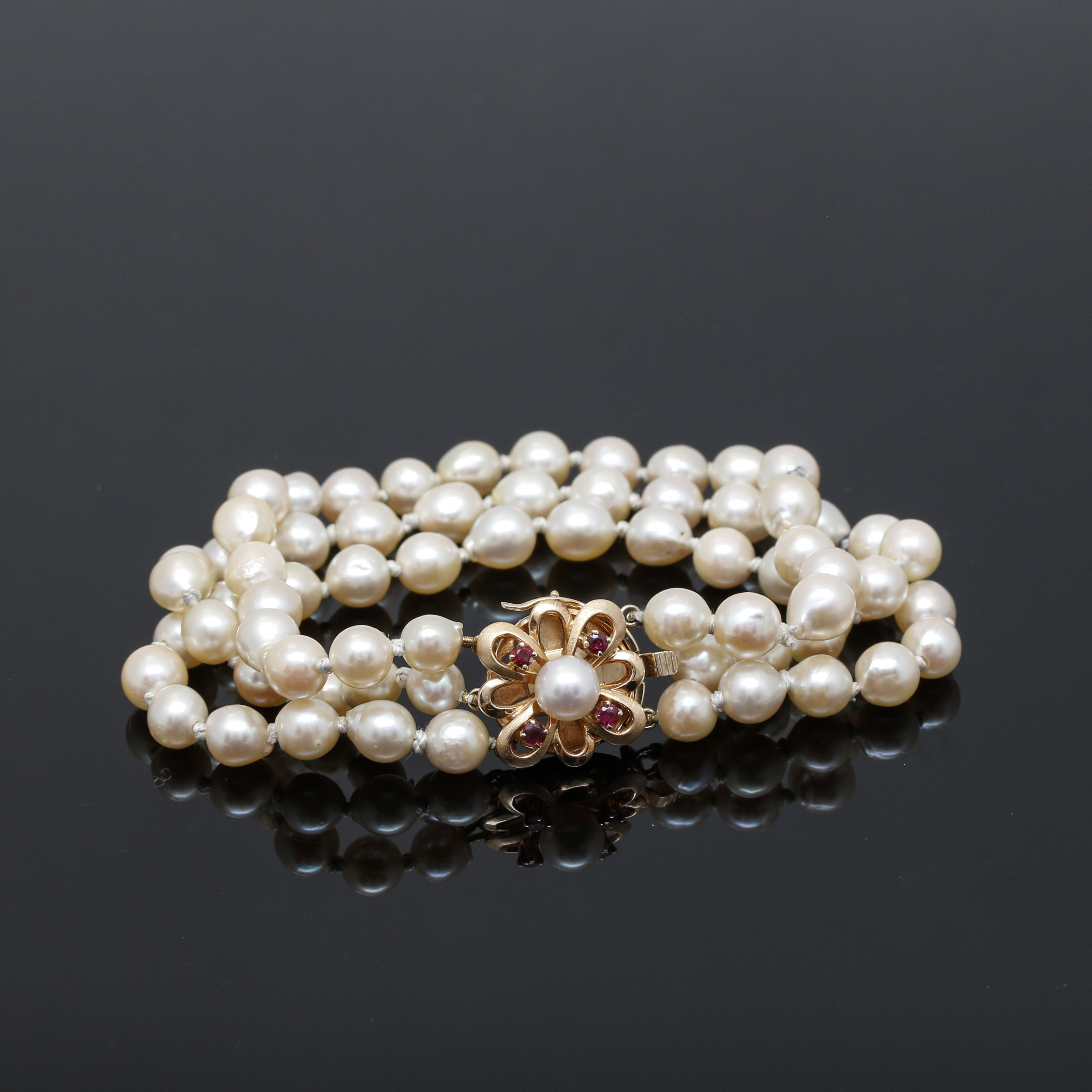 14K Yellow Gold Cultured Pearl and Ruby Bracelet