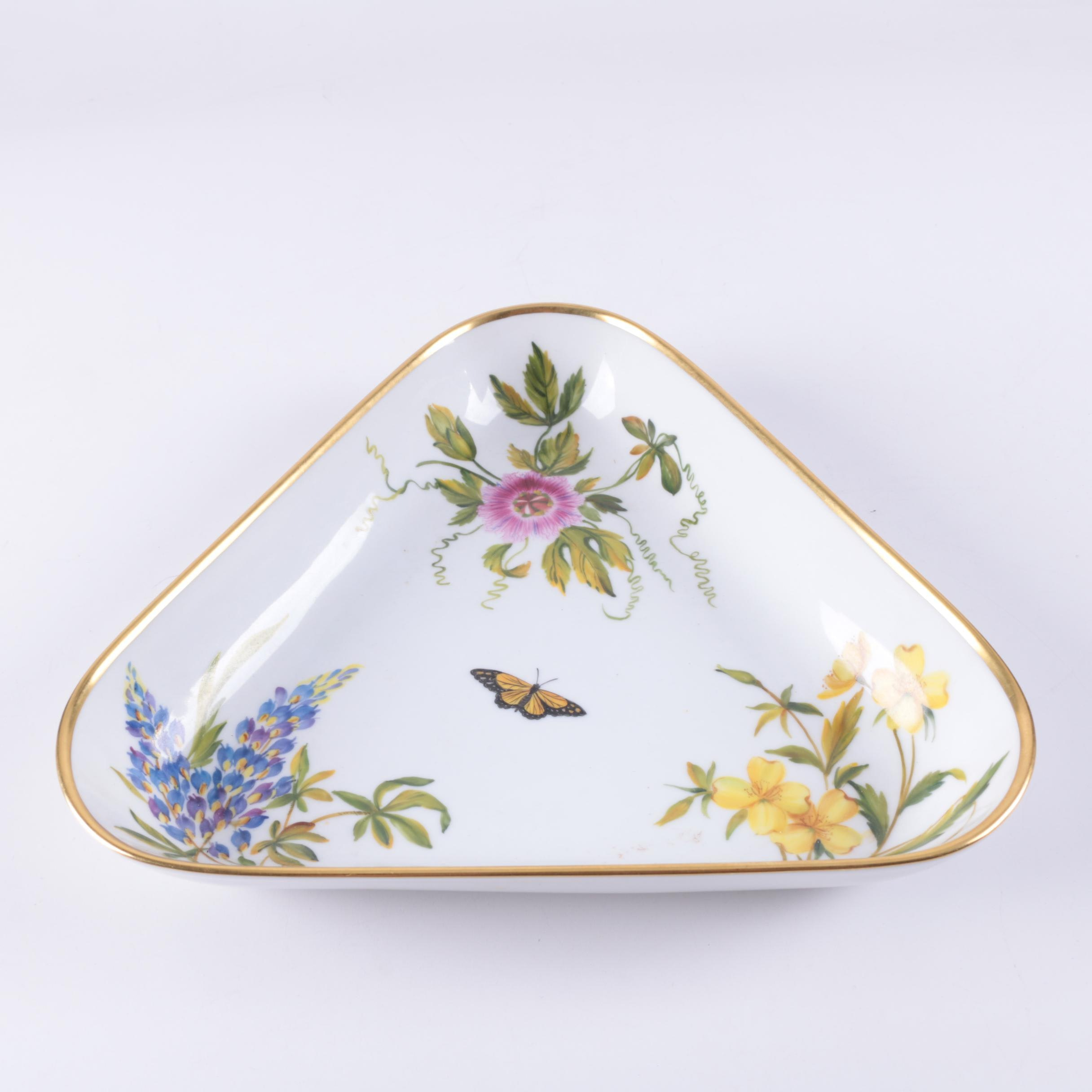 Herend Hungary Triangular Butterfly and Floral Porcelain Bowl