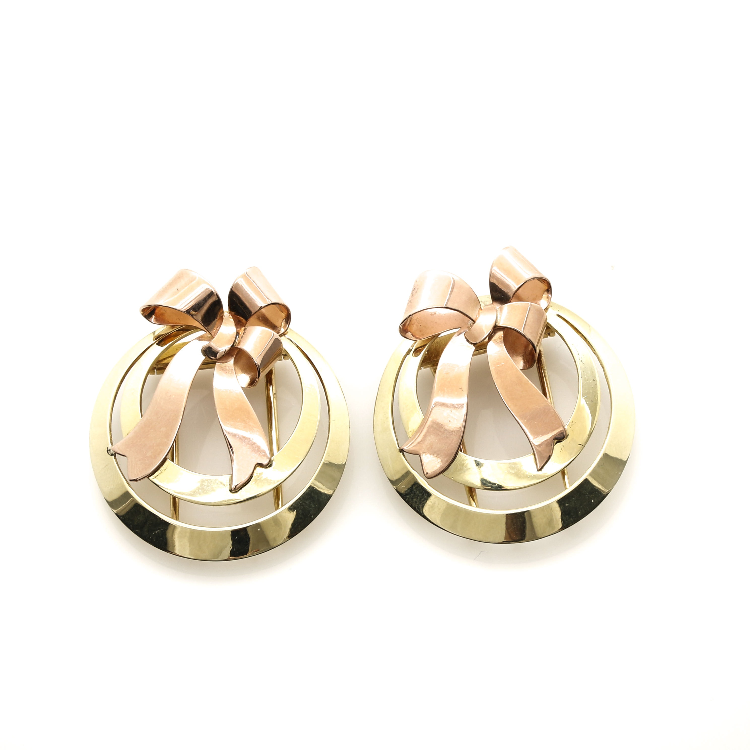 14K Rose and Yellow Gold Fur Clips