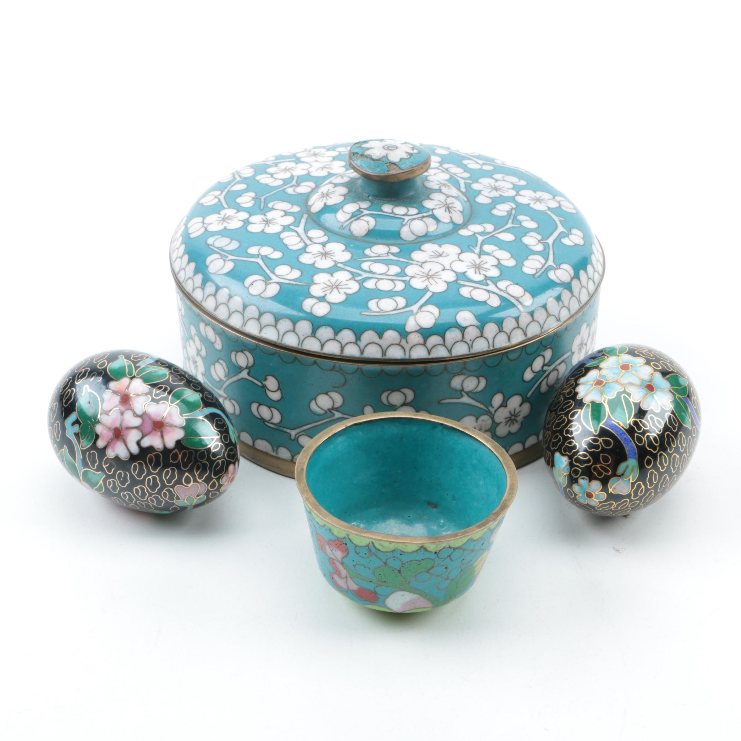 Chinese Cloisonné Covered Box, Eggs and a Cup