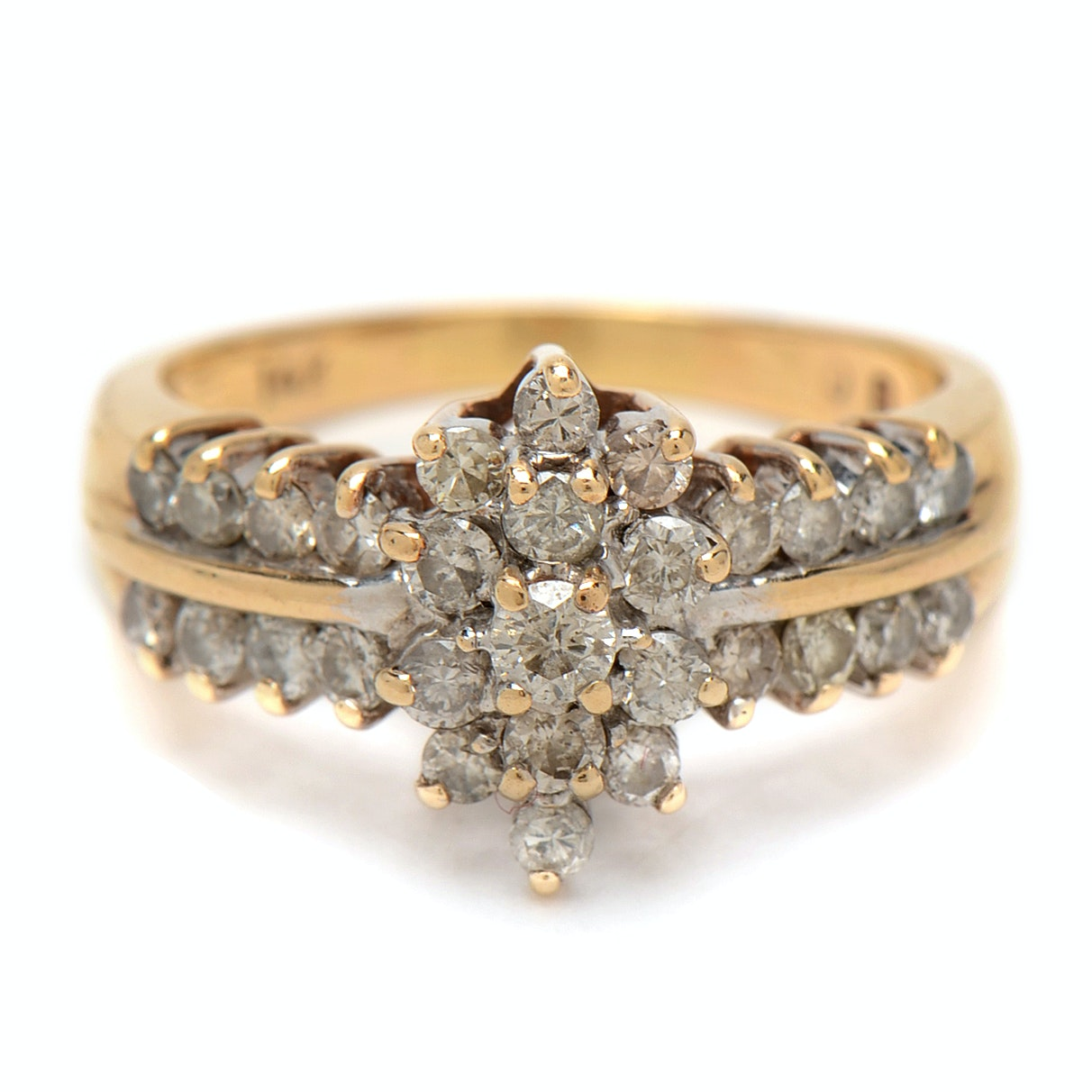14K Yellow Gold 0.92 CTW Diamond Cluster Ring