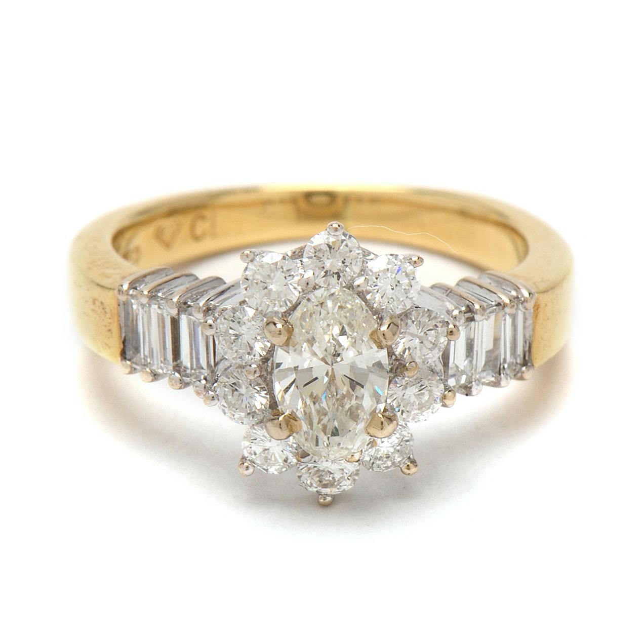 18K Yellow Gold 1.25CTW Diamond Ring