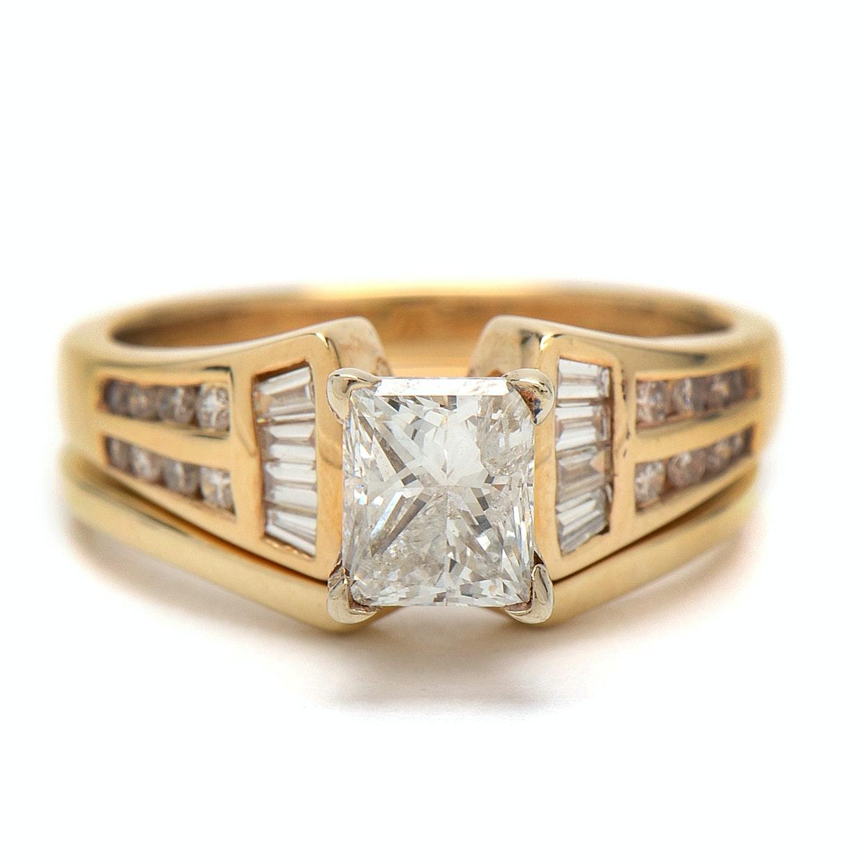 14K Yellow Gold 1.41CTW Diamond Bridal Set