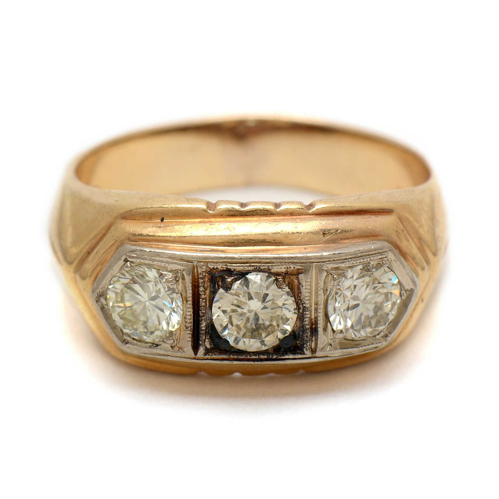 10K Yellow Gold Mens Ring with 1.20 Diamond CTW