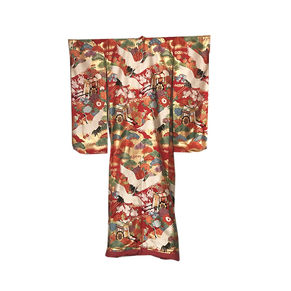 VIntage Japanese Embroidered Silk Uchikake Wedding Kimono