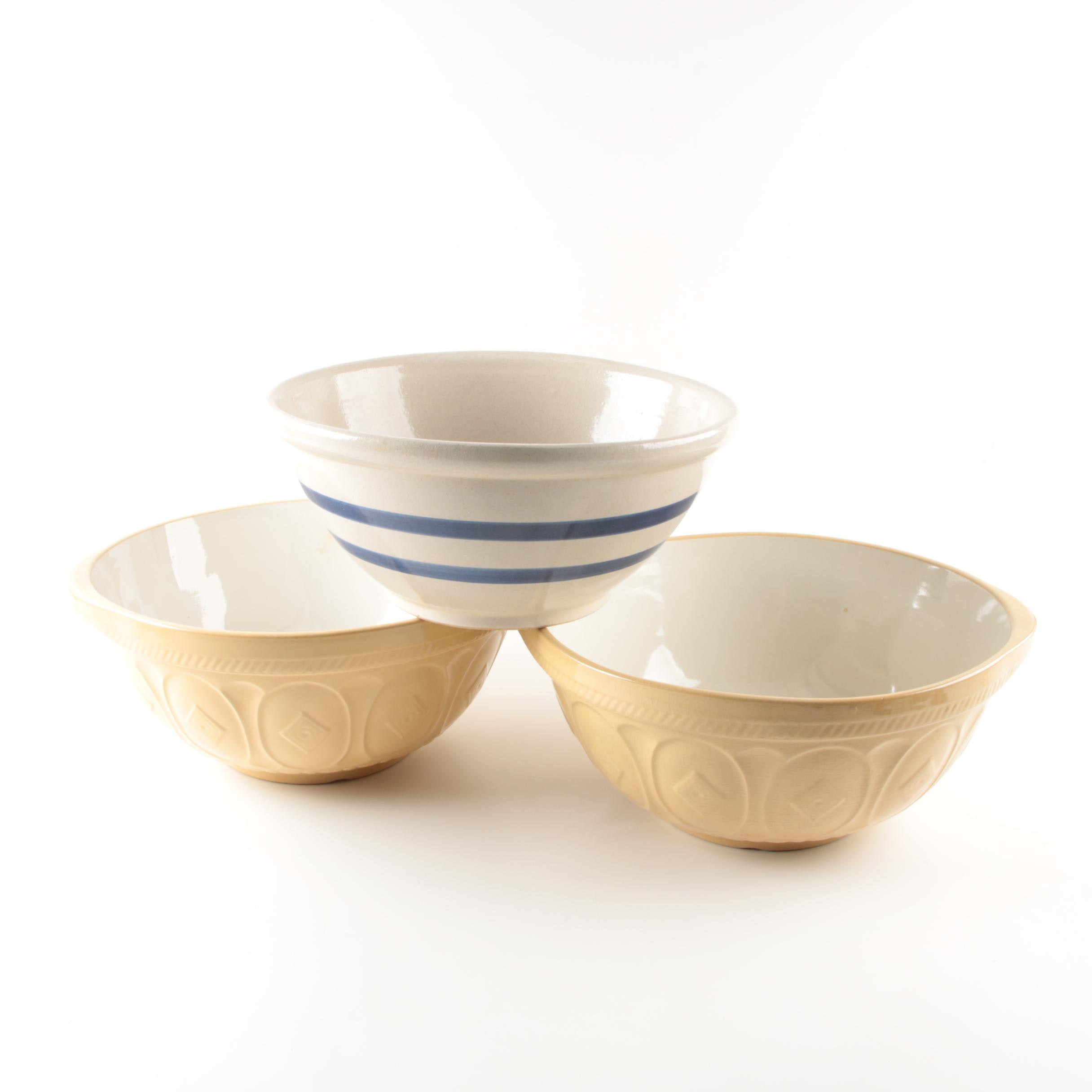 Vintage Green's and Robinson-Ransbottom Pottery Mixing Bowls
