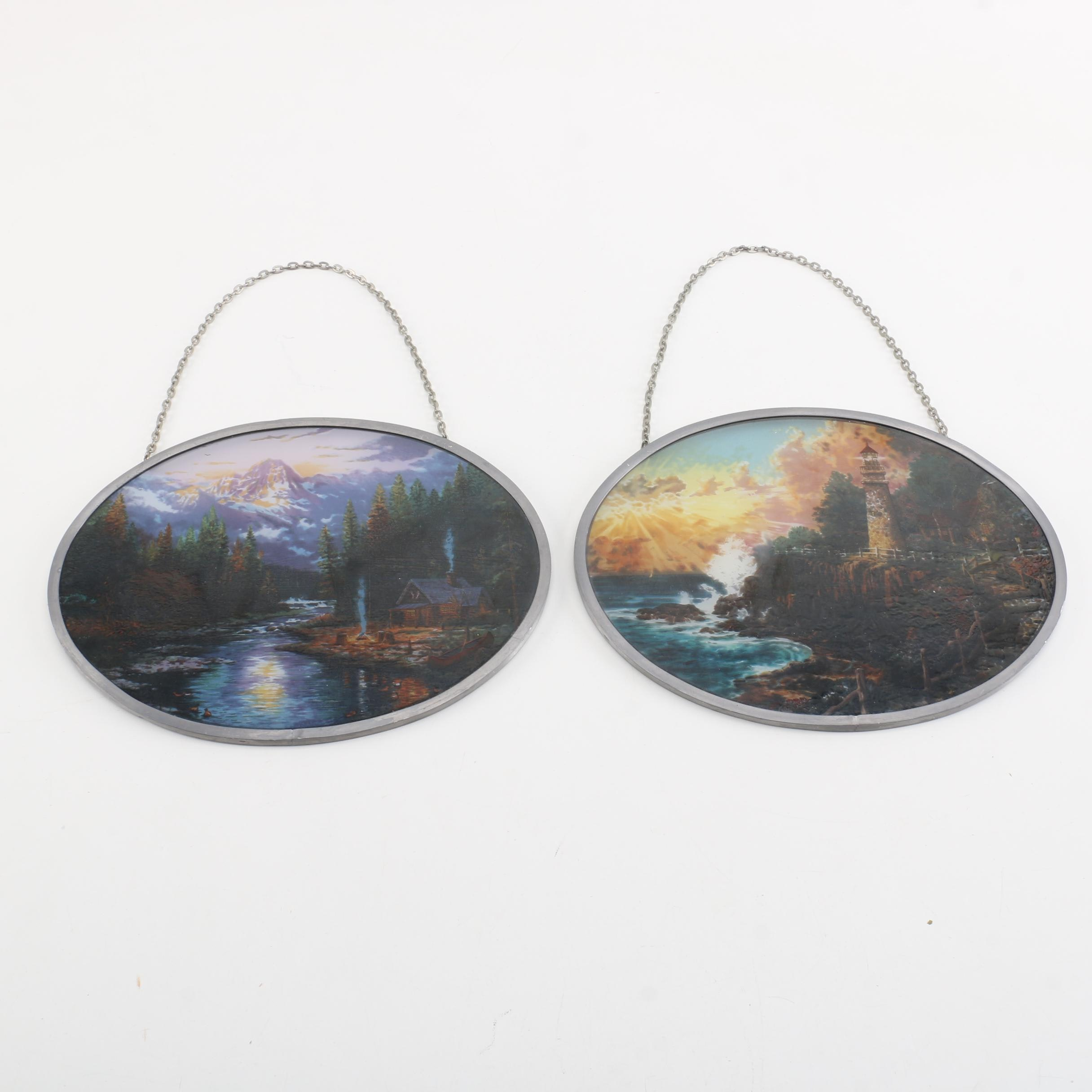 Hanging Framed Colored Glass Images
