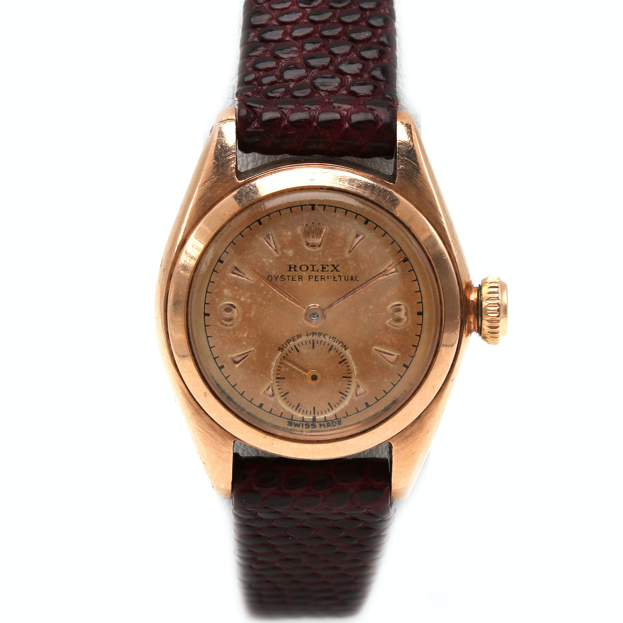 Rolex Oyster 14K Rose Gold Bubbleback Wristwatch