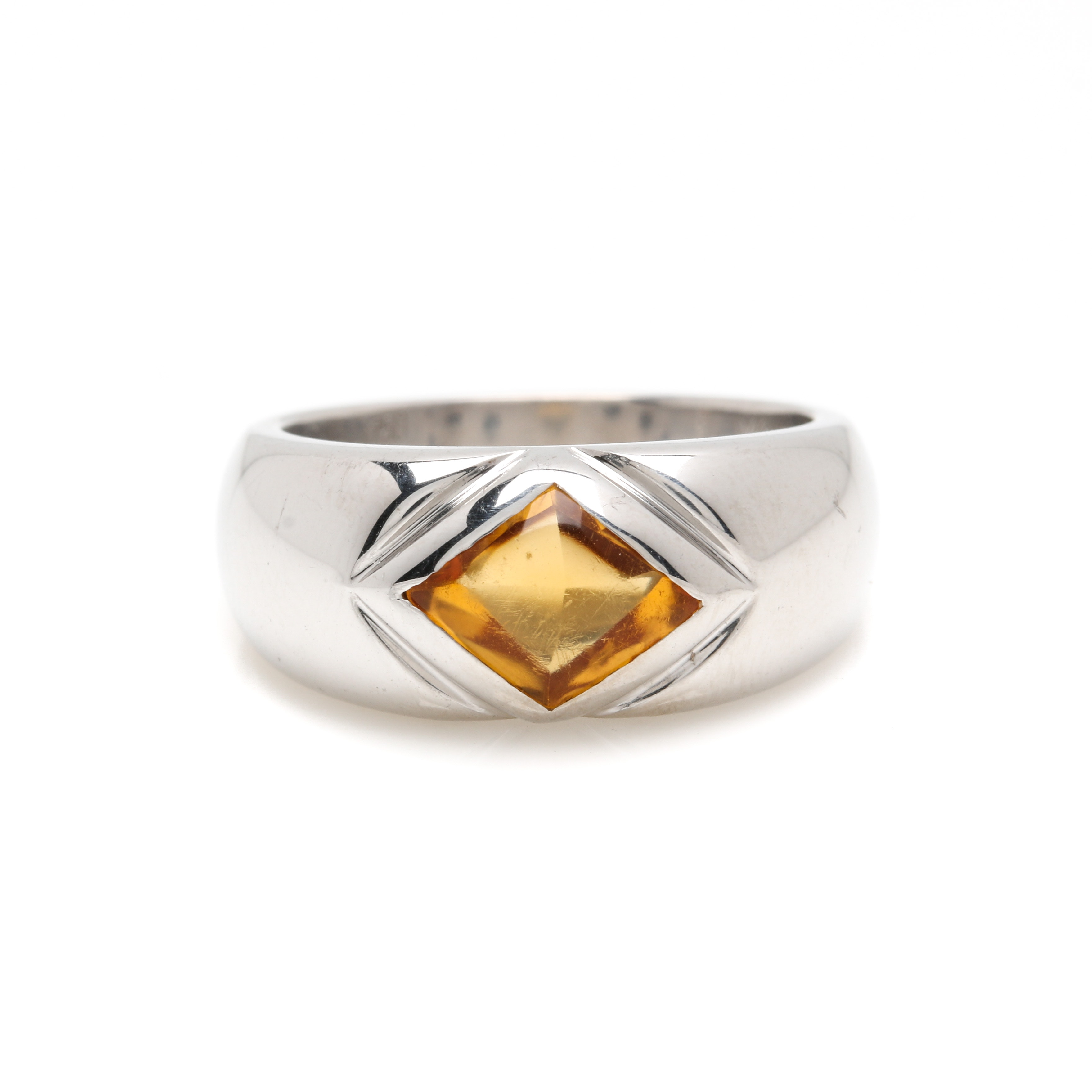18K White Gold Citrine Ring