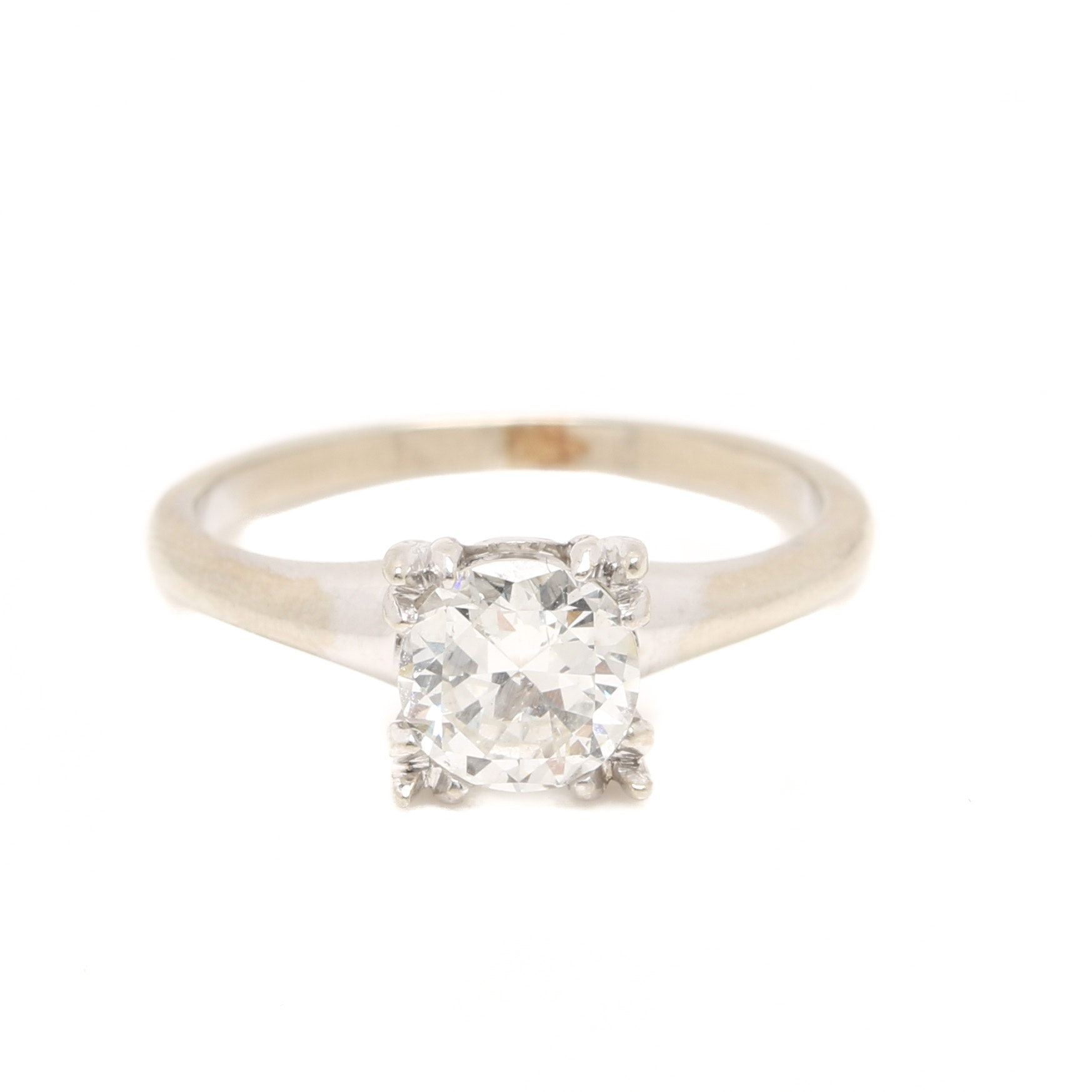 14K White Gold 0.95 CTW Diamond Solitaire Ring