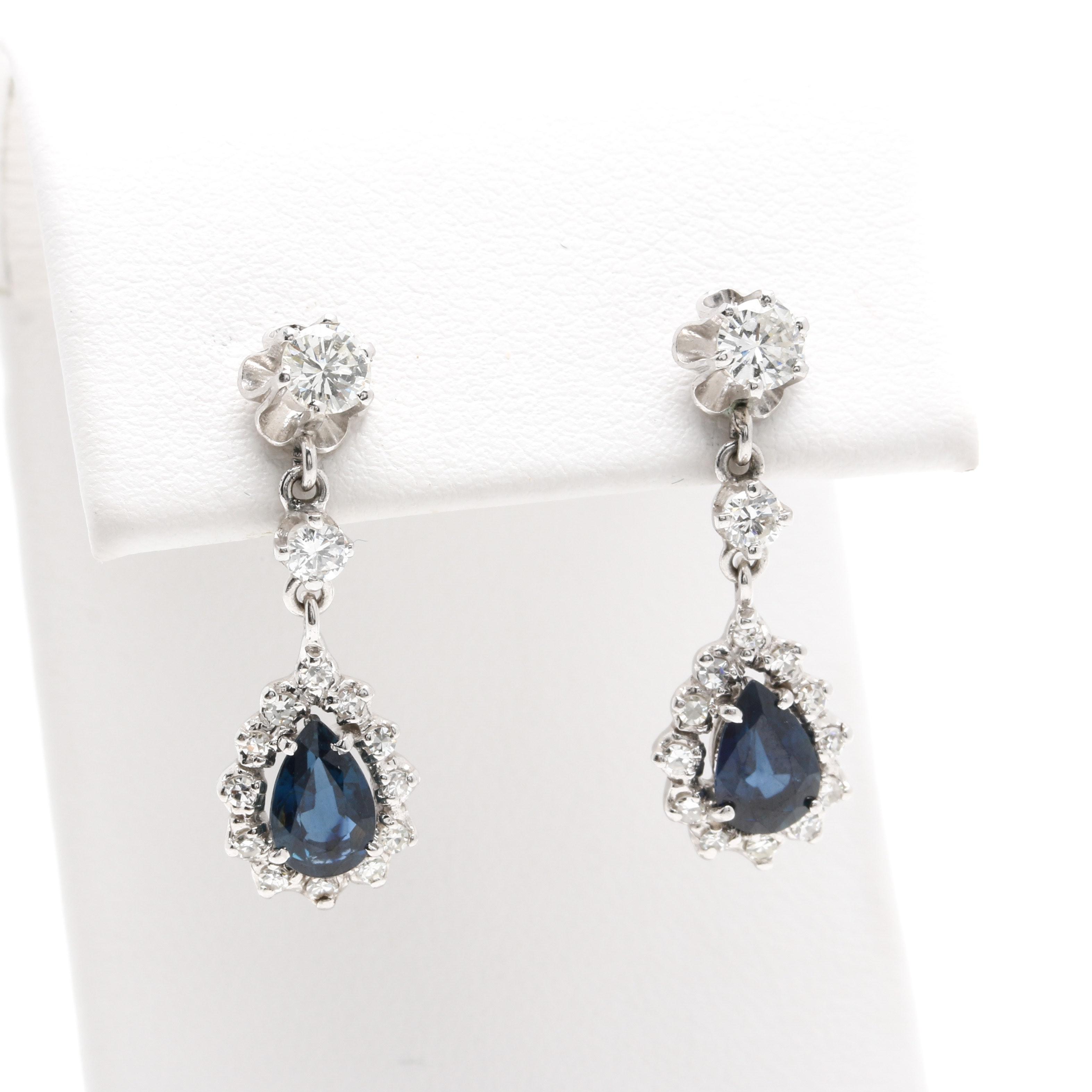 14K White Gold Sapphire and Diamond Drop Earrings