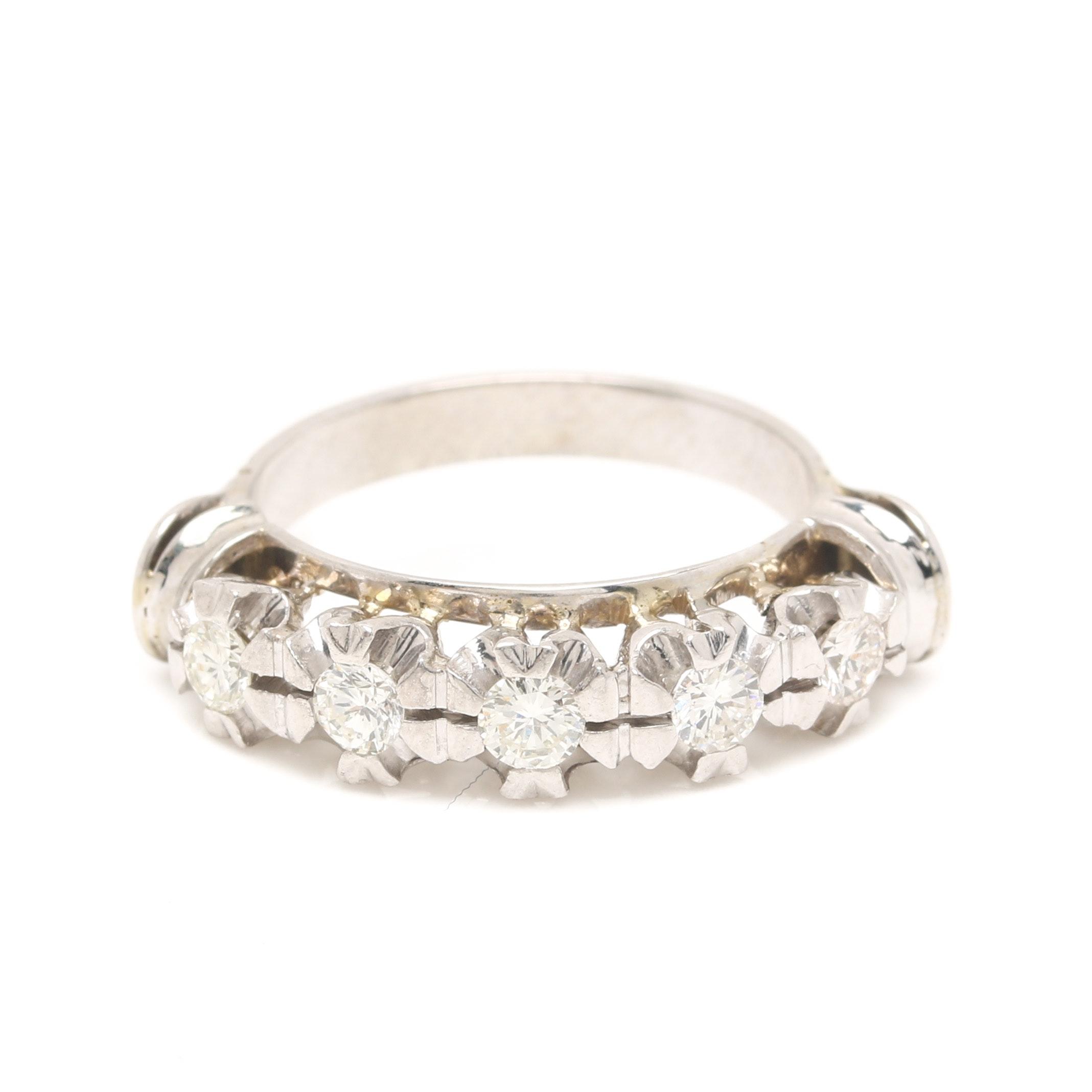 14K and 18K White Gold Diamond Ring