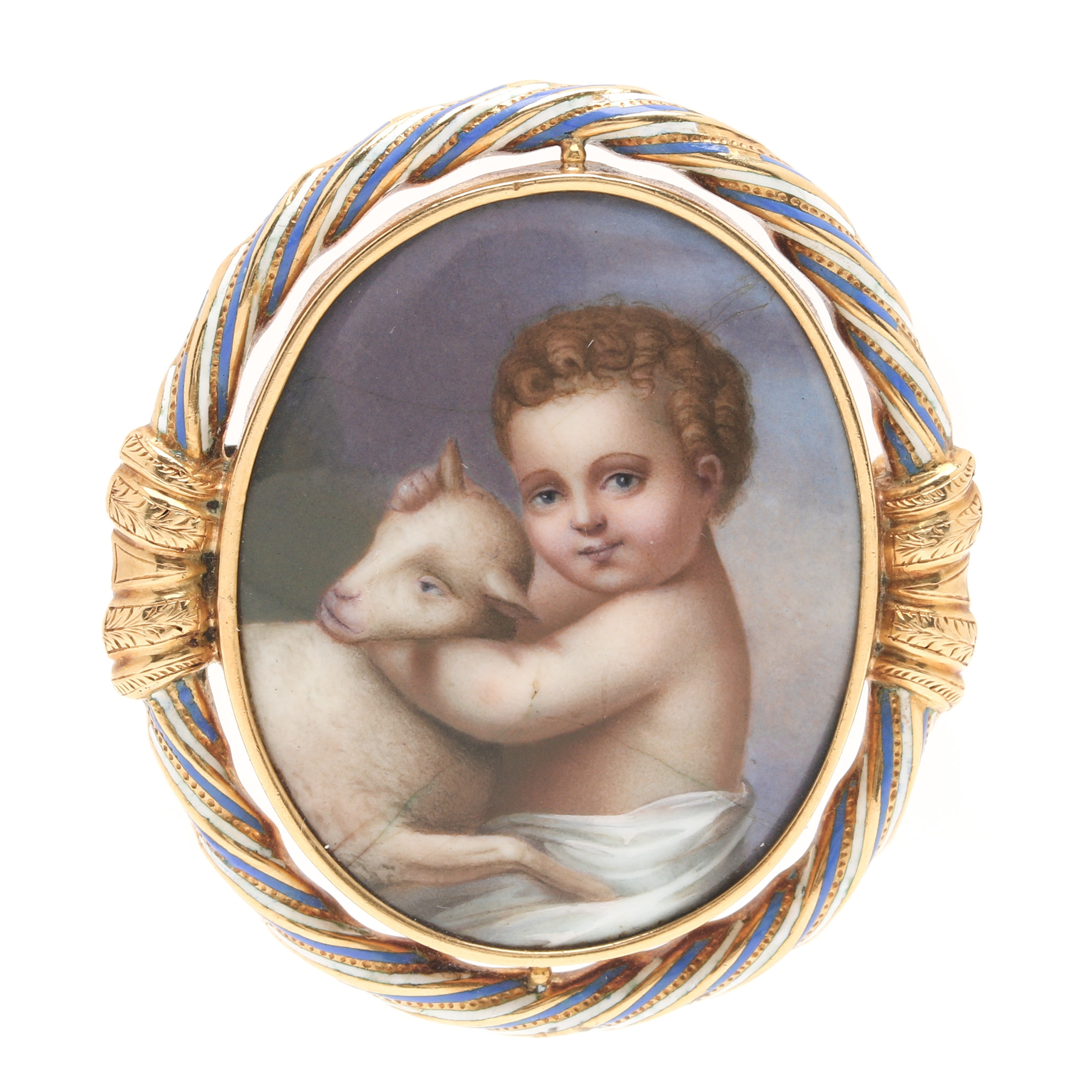 14K Yellow Gold Painted Porcelain Brooch