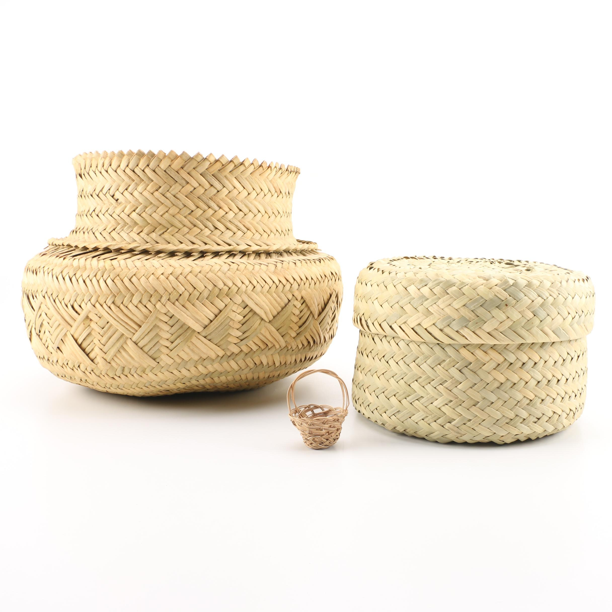 Decorative Woven Baskets Including Lidded Woven Basket