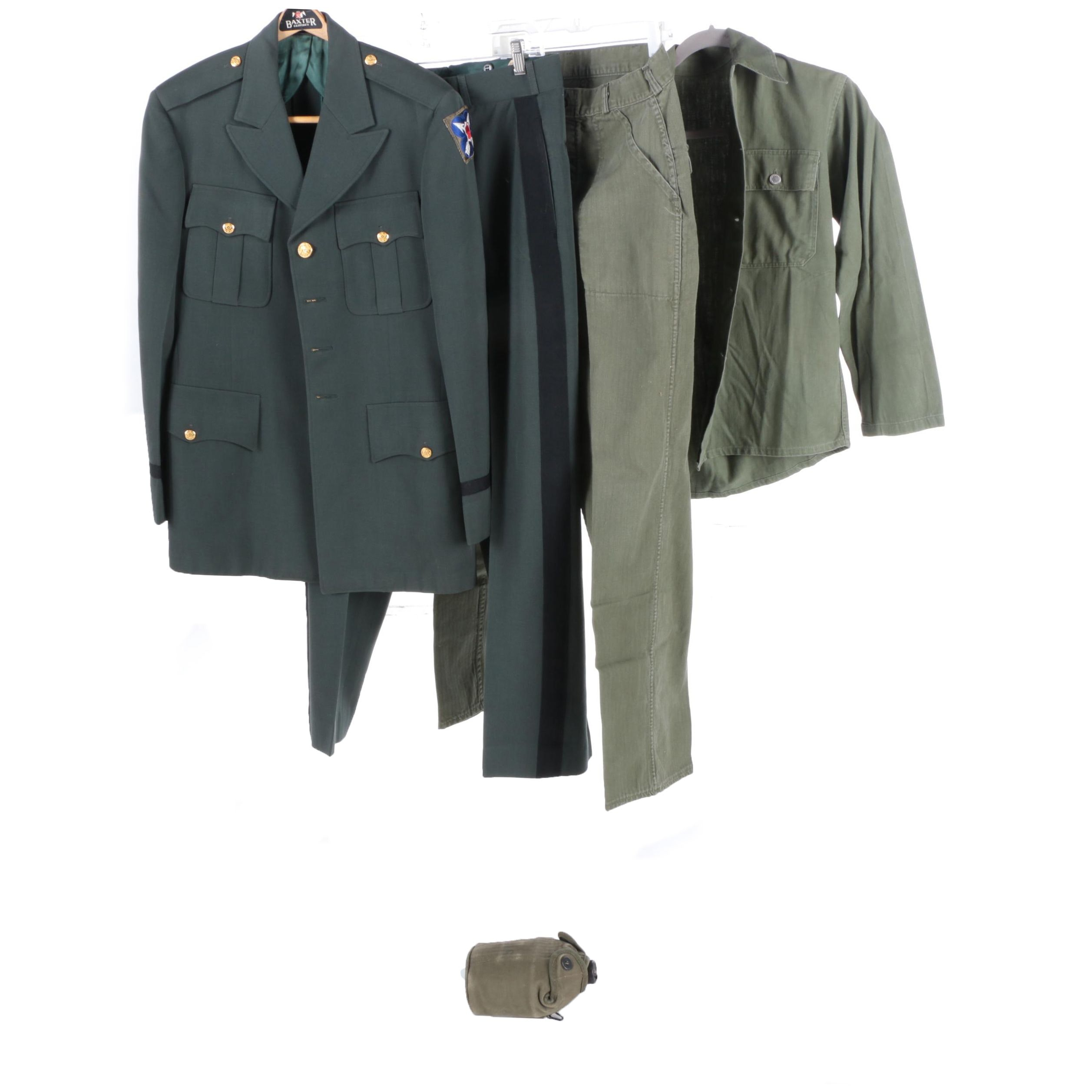 U.S. Army Officer Dress Uniform With WWII Patch, Field Outfit, and Canteen