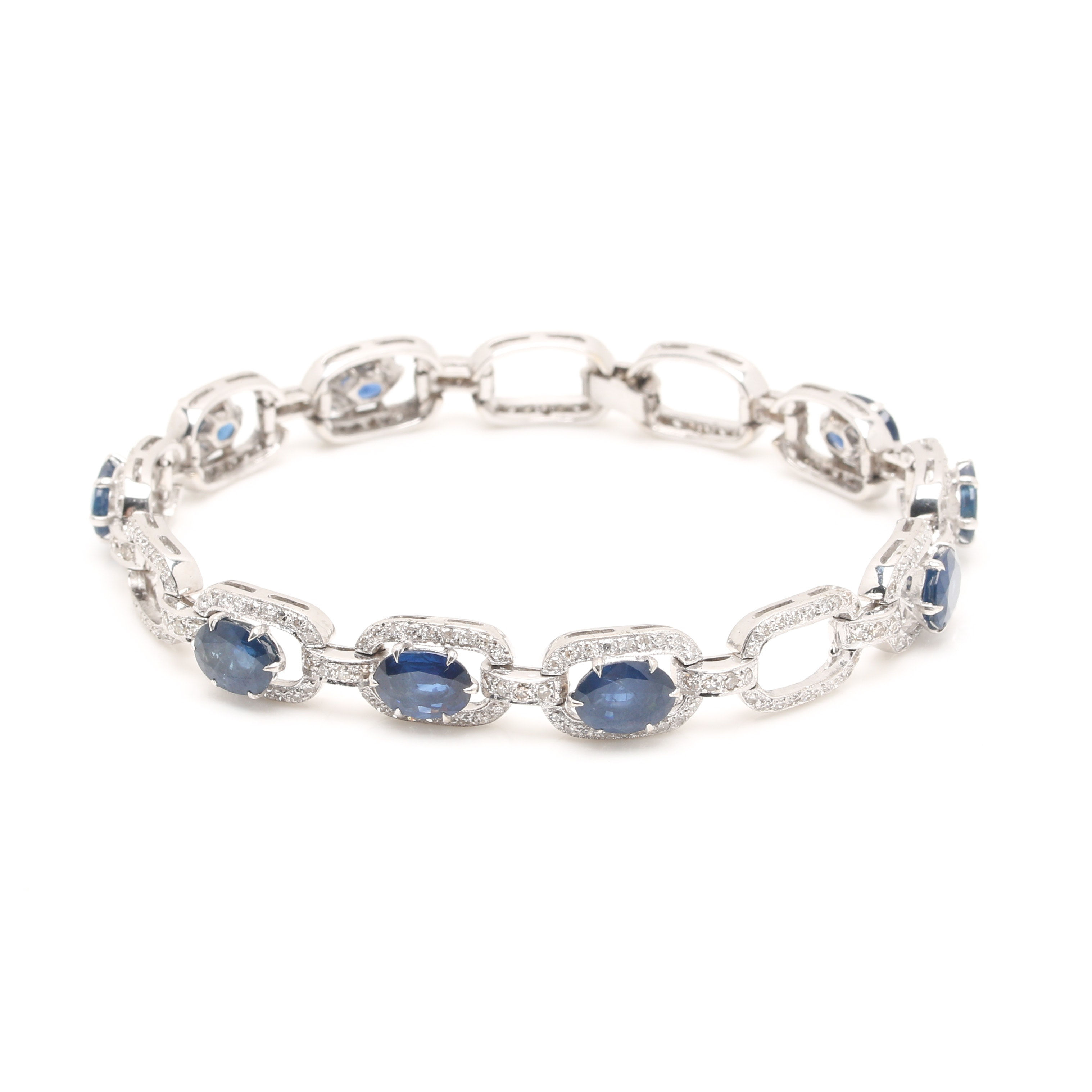 18K White Gold 15.85 CTW Sapphire and 2.18 CTW Diamond Bracelet