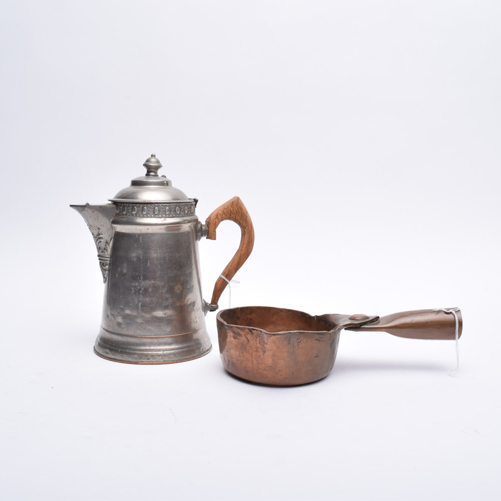 Vintage Copper Ladle and Silver Plated Ice Water Pitcher
