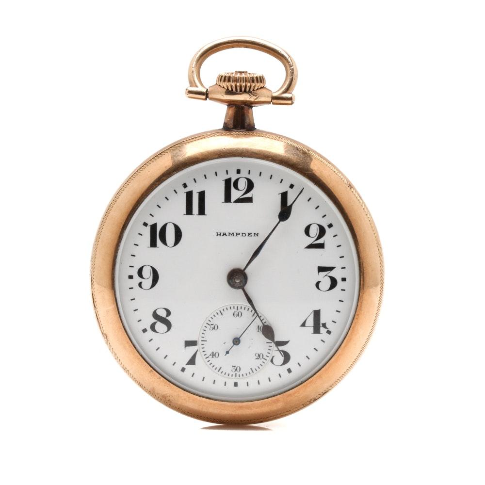 Antique Hampden Open Face Pocket Watch