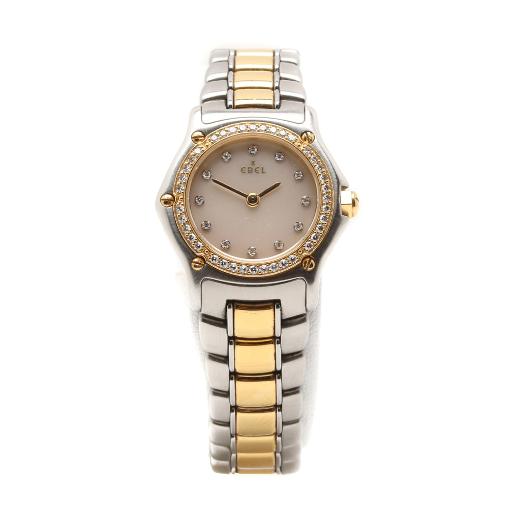 Ebel Stainless Steel and 18K Yellow Gold Diamond Accent Wristwatch
