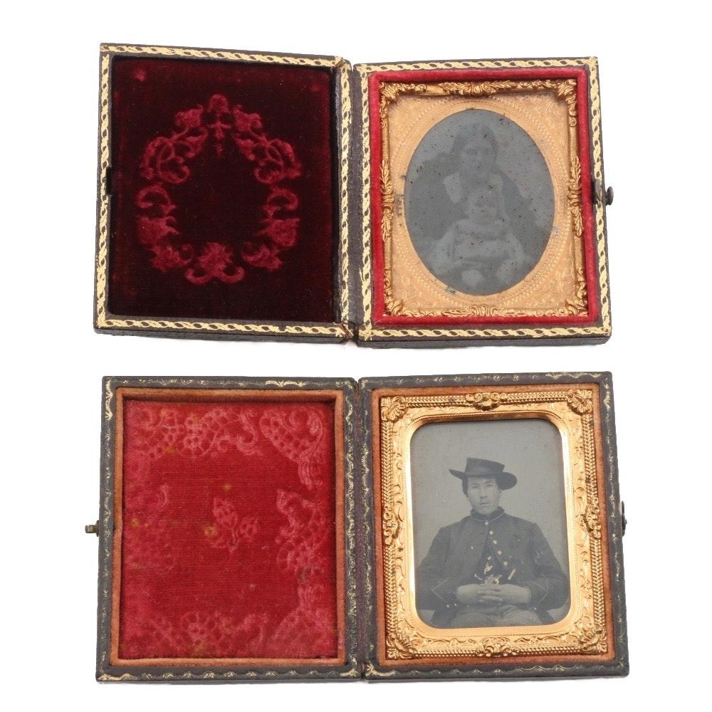 Antique Daguerreotypes in Hinged Frames
